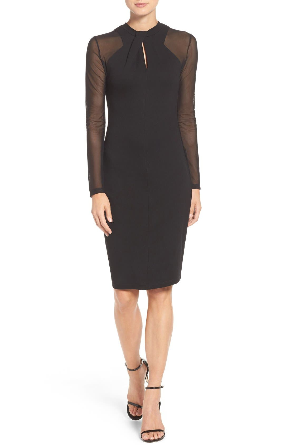 'Tania Tuck' Mesh Sleeve Sheath Dress,                             Alternate thumbnail 4, color,                             Black
