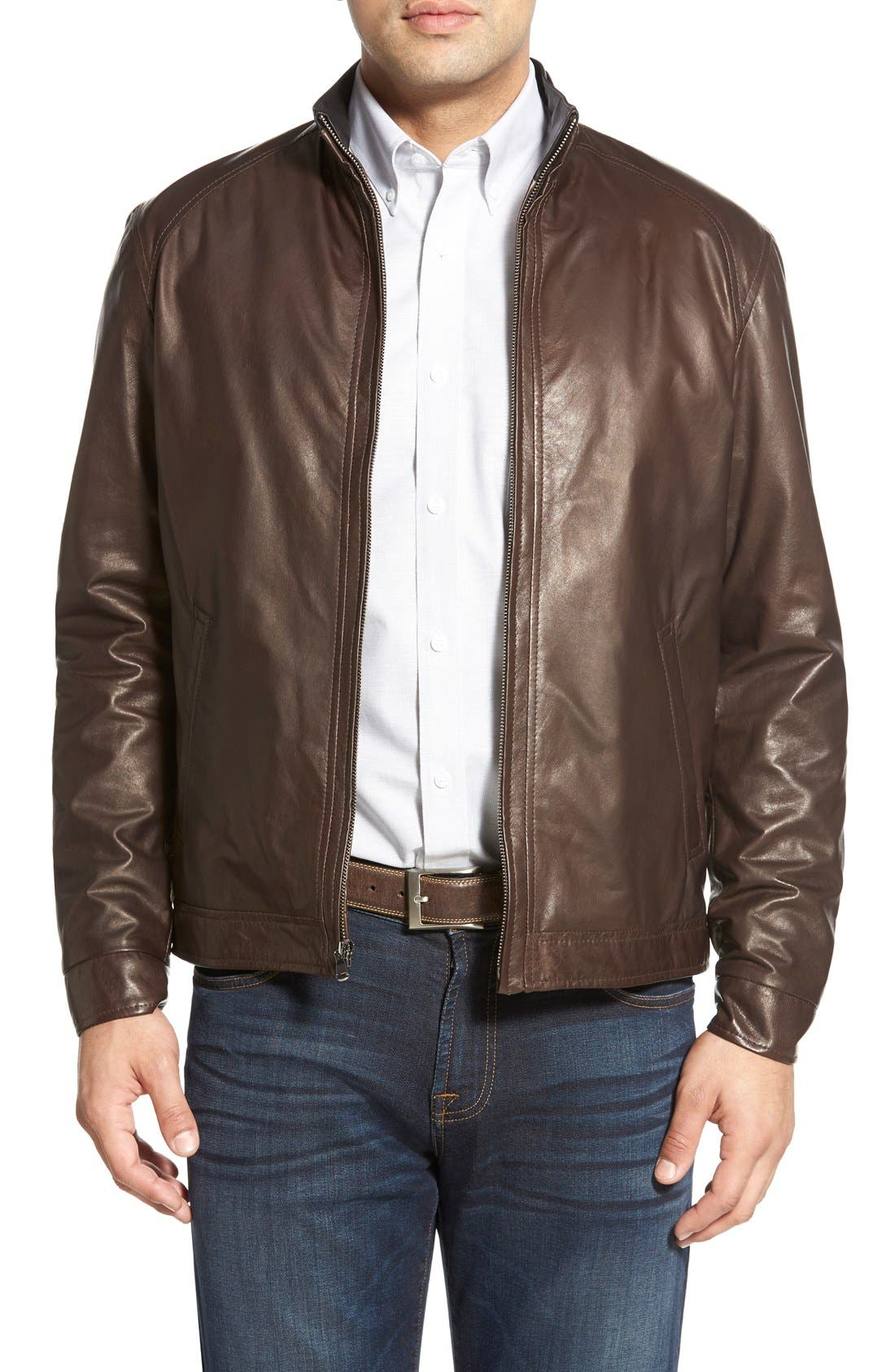 Lambskin Leather Jacket,                             Main thumbnail 1, color,                             Coffee