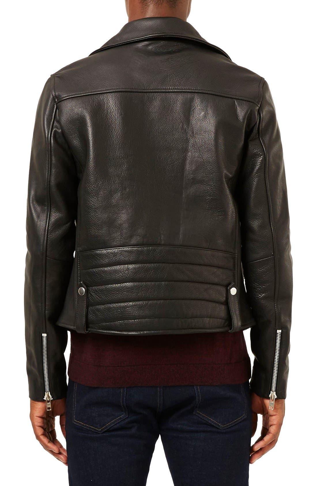 Alternate Image 3  - Topman Leather Biker Jacket