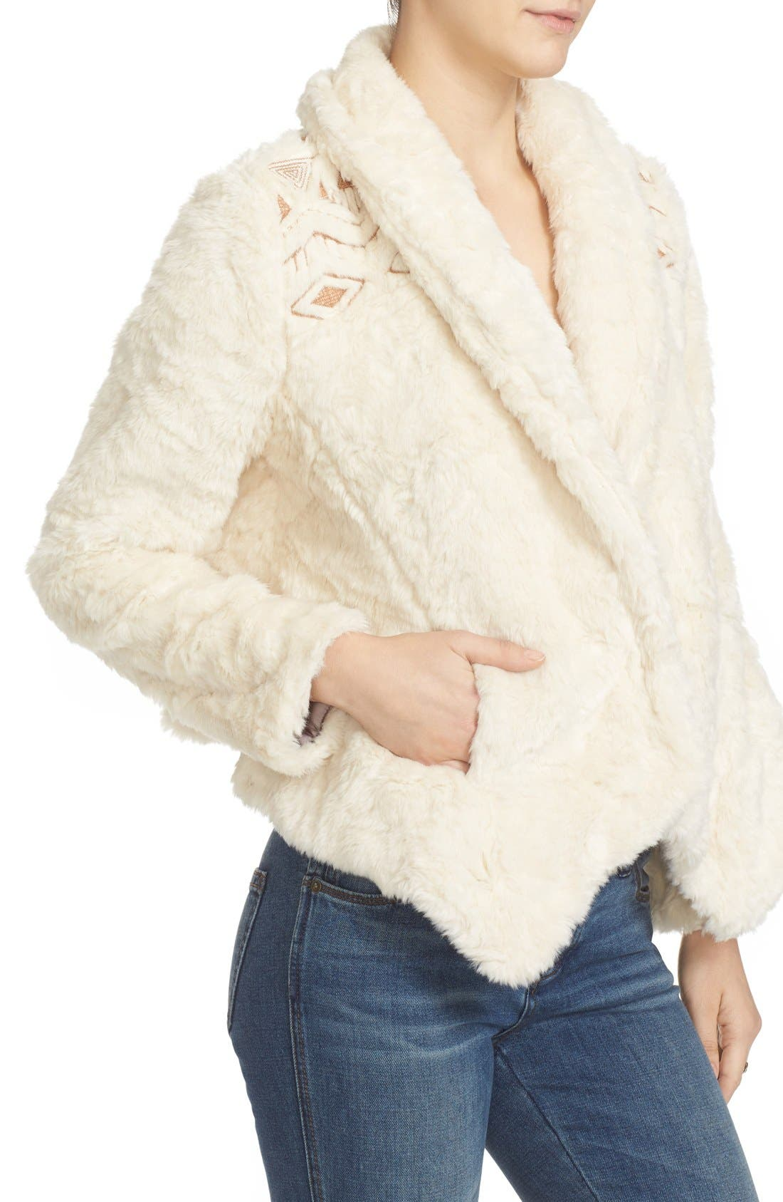 Alternate Image 5  - Free People Embroidered Faux Fur Jacket