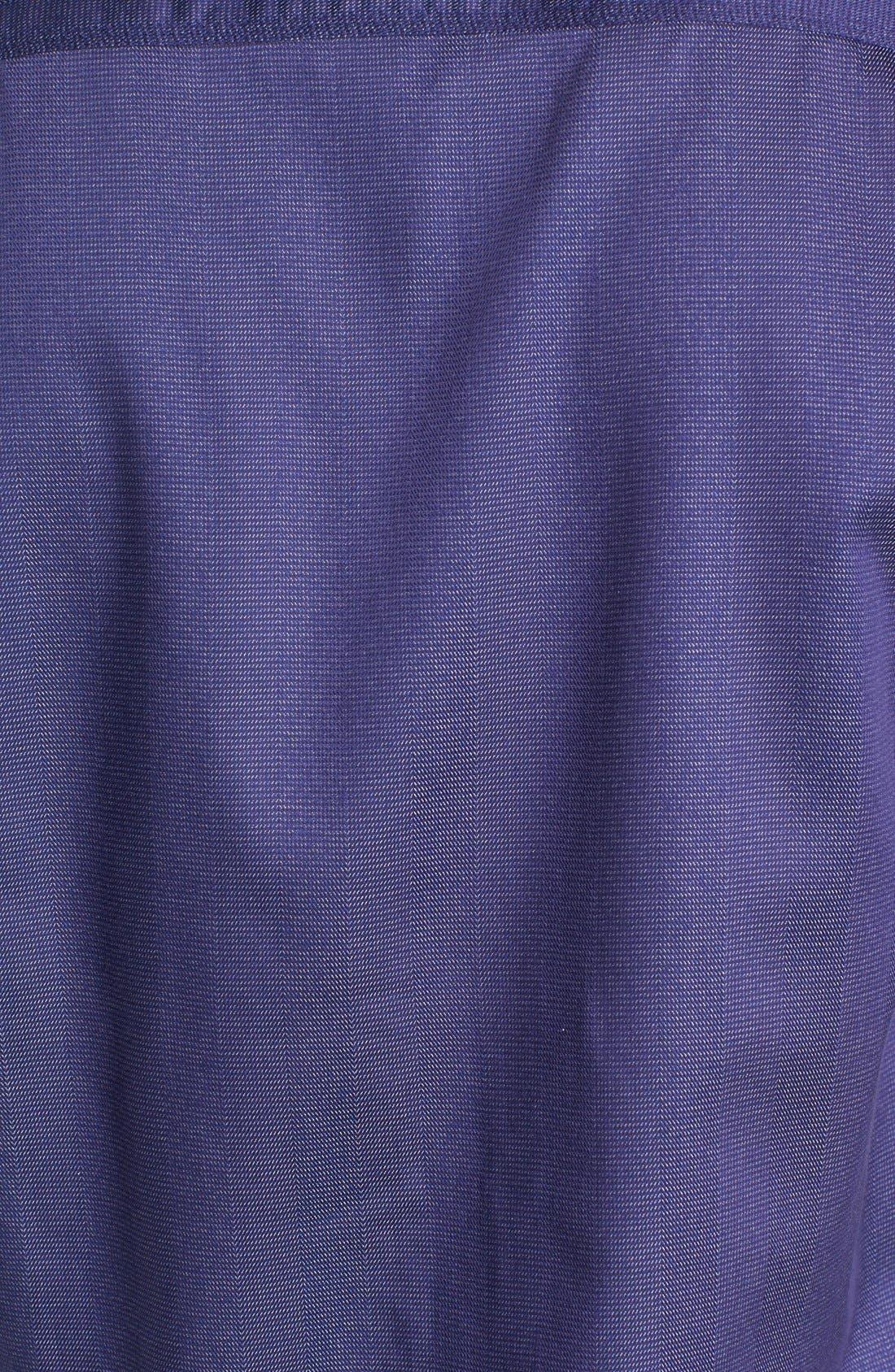 Shaped Fit Stripe Jacquard Sport Shirt,                             Alternate thumbnail 5, color,                             Night Blue