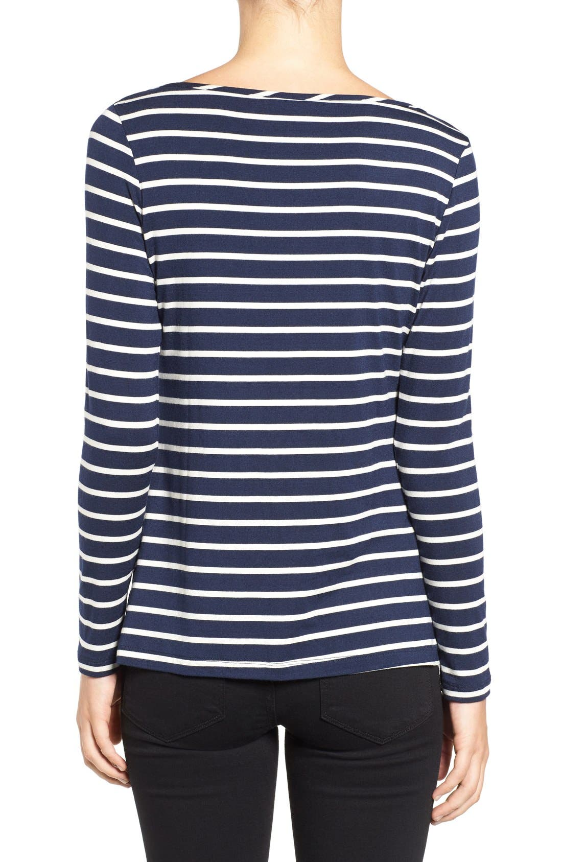 Francoise Stripe Top,                             Alternate thumbnail 2, color,                             Basque Stripe