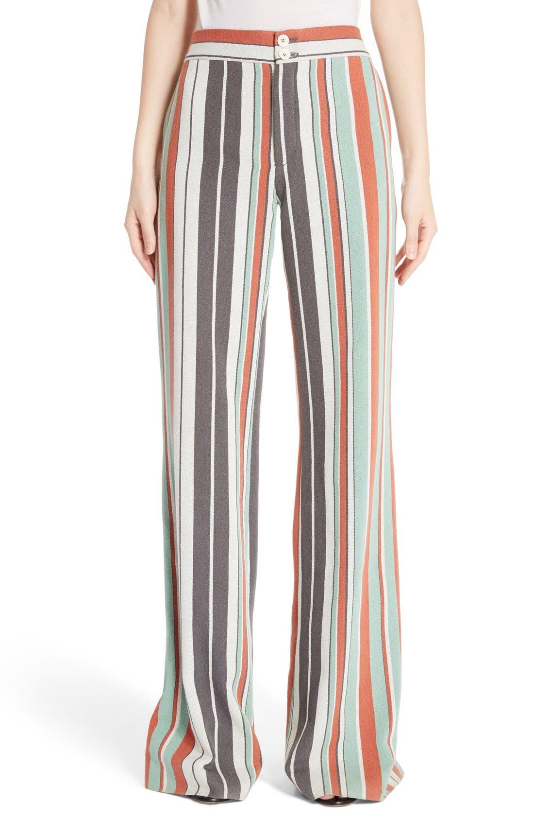 Alternate Image 1 Selected - Chloé Mixed Stripe Wide Leg Pants