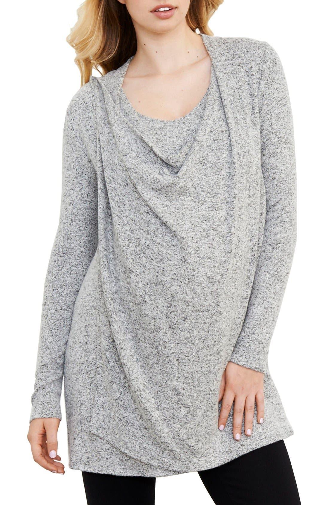 Main Image - Maternal America Drape Neck Maternity/Nursing Sweater