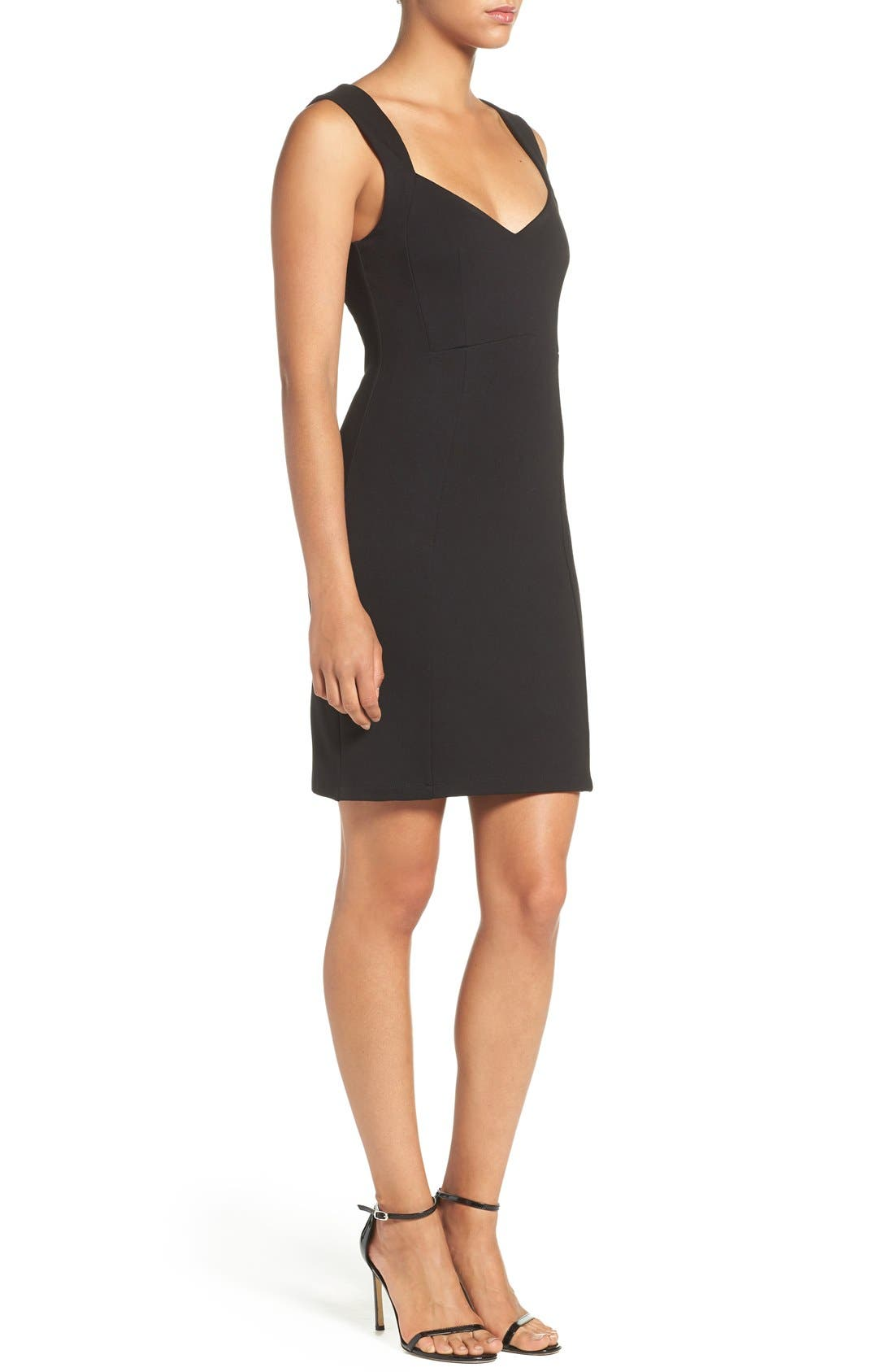 'Lula' Stretch Body-Con Dress,                             Alternate thumbnail 3, color,                             Black