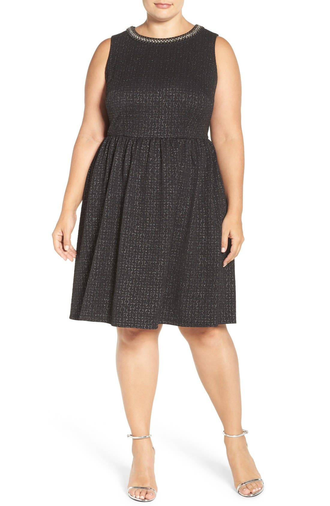 Alternate Image 4  - London Times Embellished Stretch Fit & Flare Dress (Plus Size)