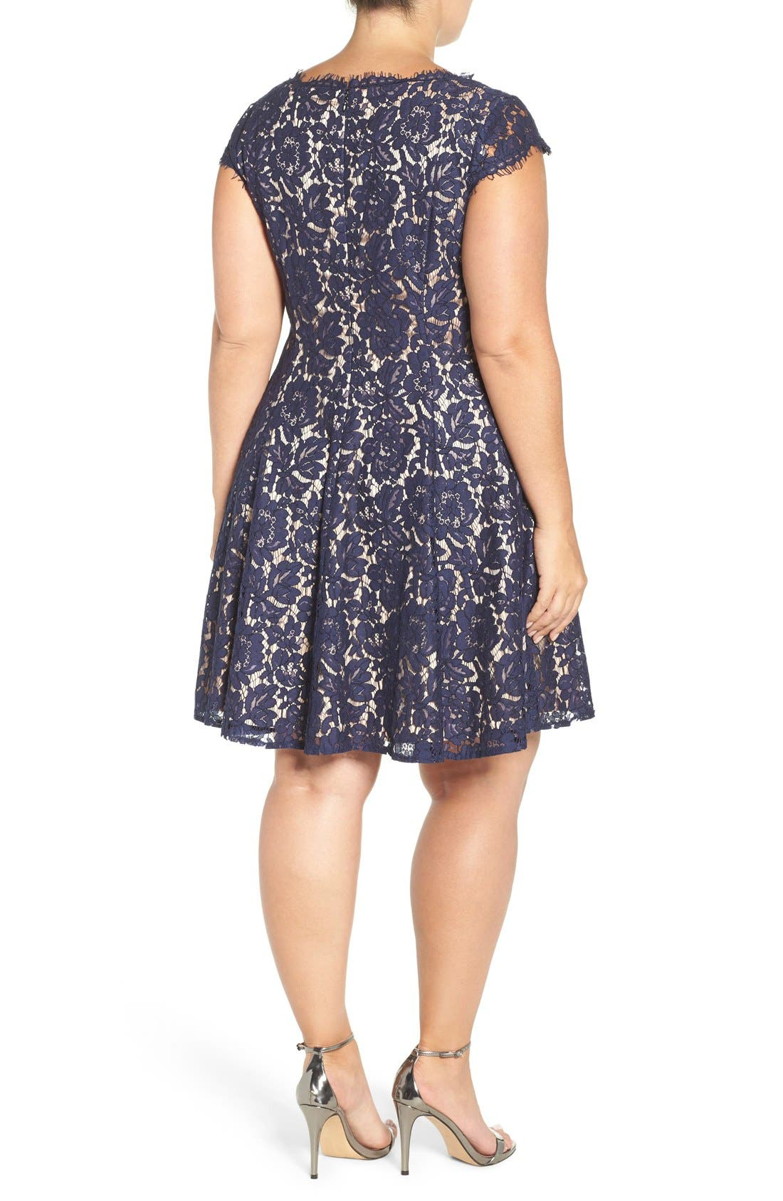 Alternate Image 2  - Eliza J Lace Fit & Flare Dress (Plus Size)