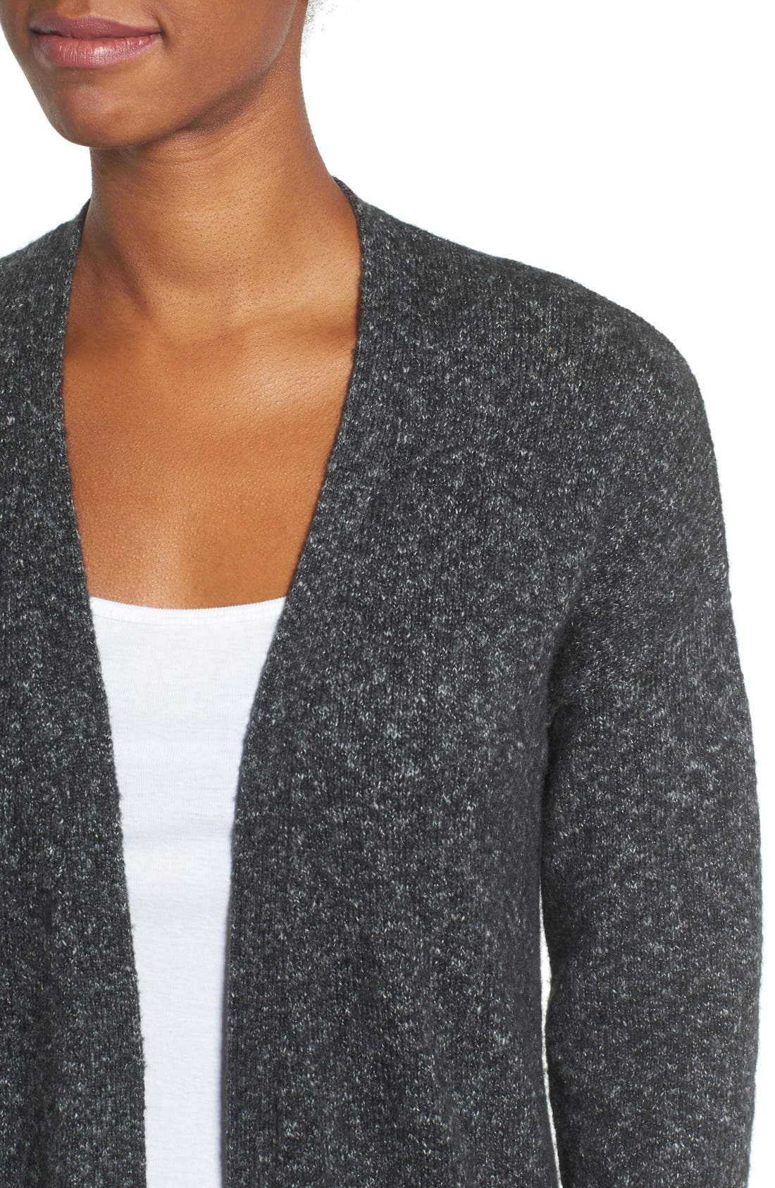 Long Knit Cardigan,                             Alternate thumbnail 4, color,                             Charcoal Marl