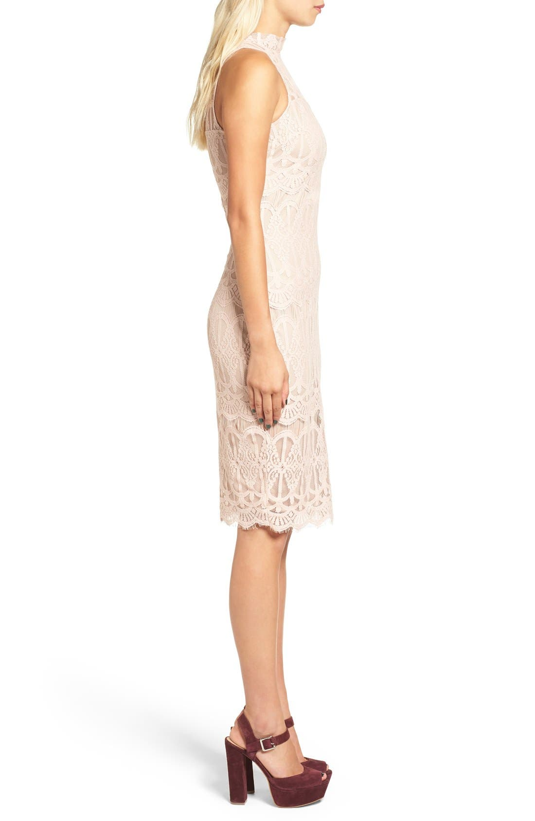 Alternate Image 3  - Fire Mock Neck Lace Sheath Dress