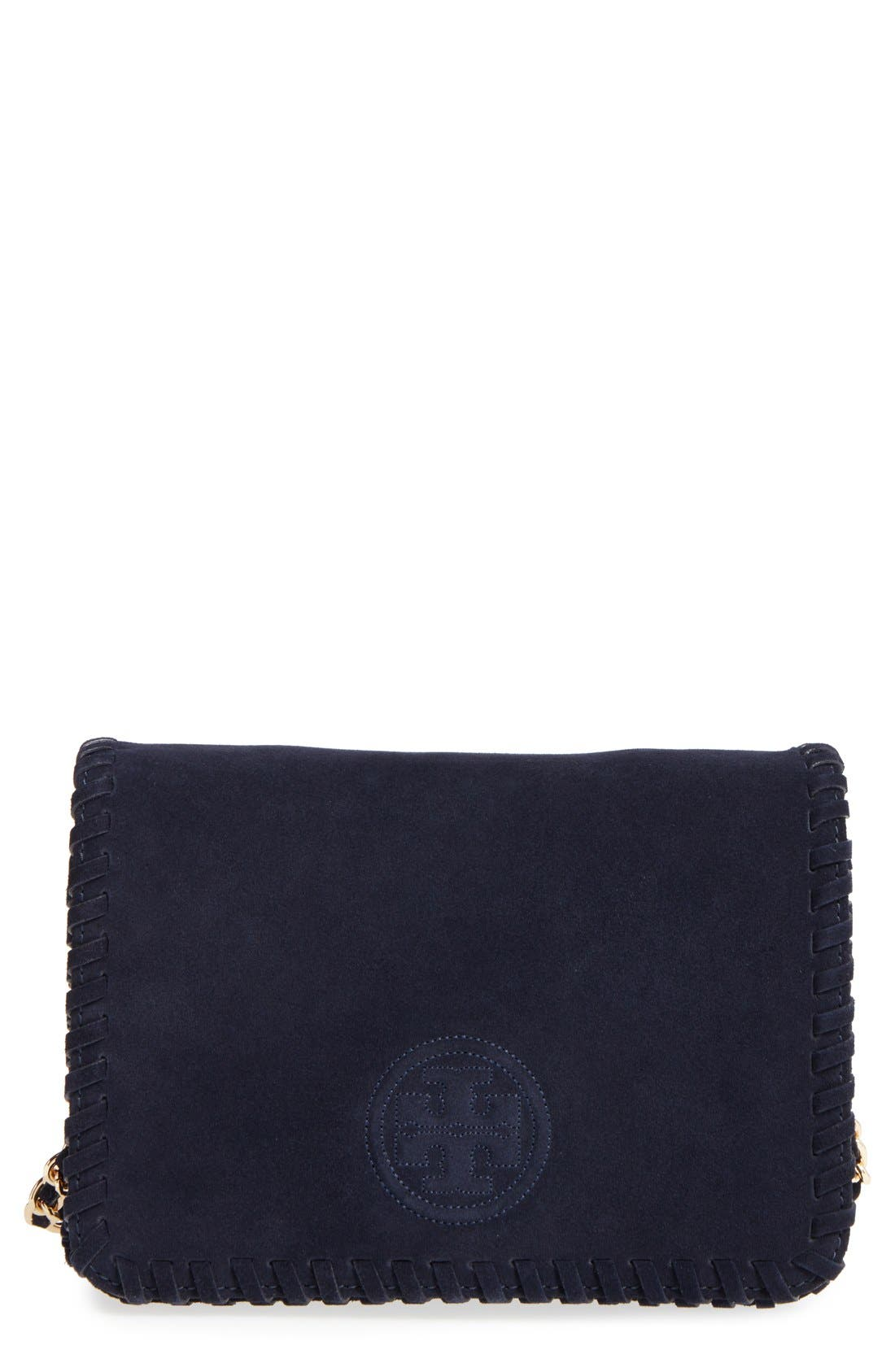 Main Image - Tory Burch 'Marion' Suede Crossbody Bag