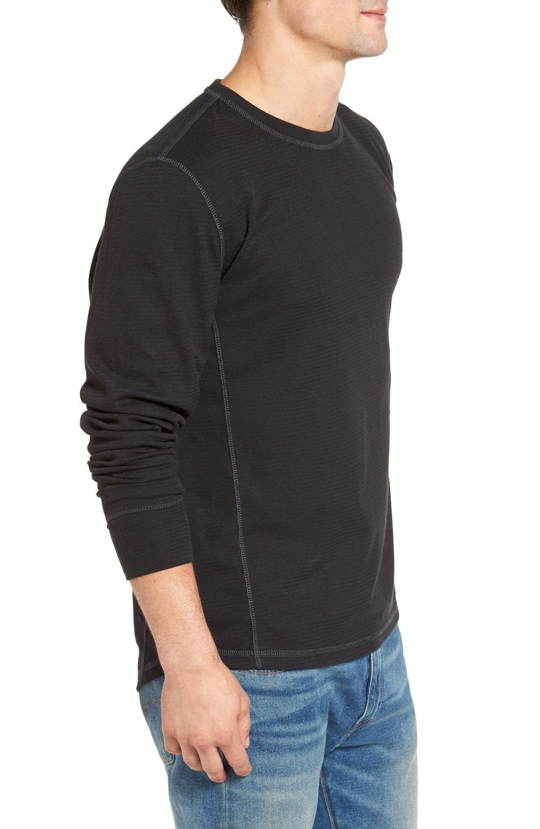 Larsen Zigzag Thermal T-Shirt,                             Alternate thumbnail 3, color,                             Black