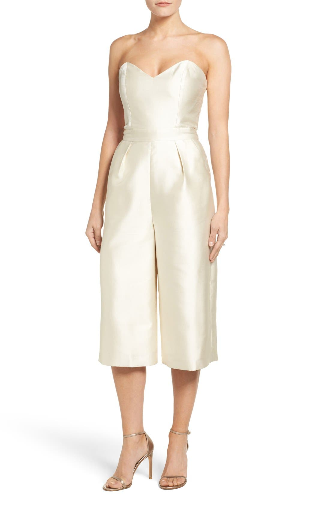 Alternate Image 1 Selected - Paper Crown Milan Strapless Culotte Jumpsuit
