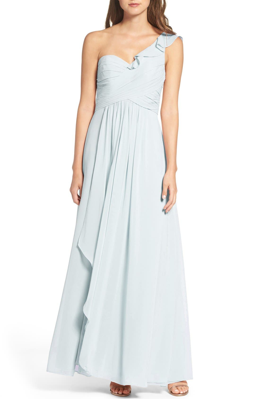WTOO One-Shoulder Chiffon Dress