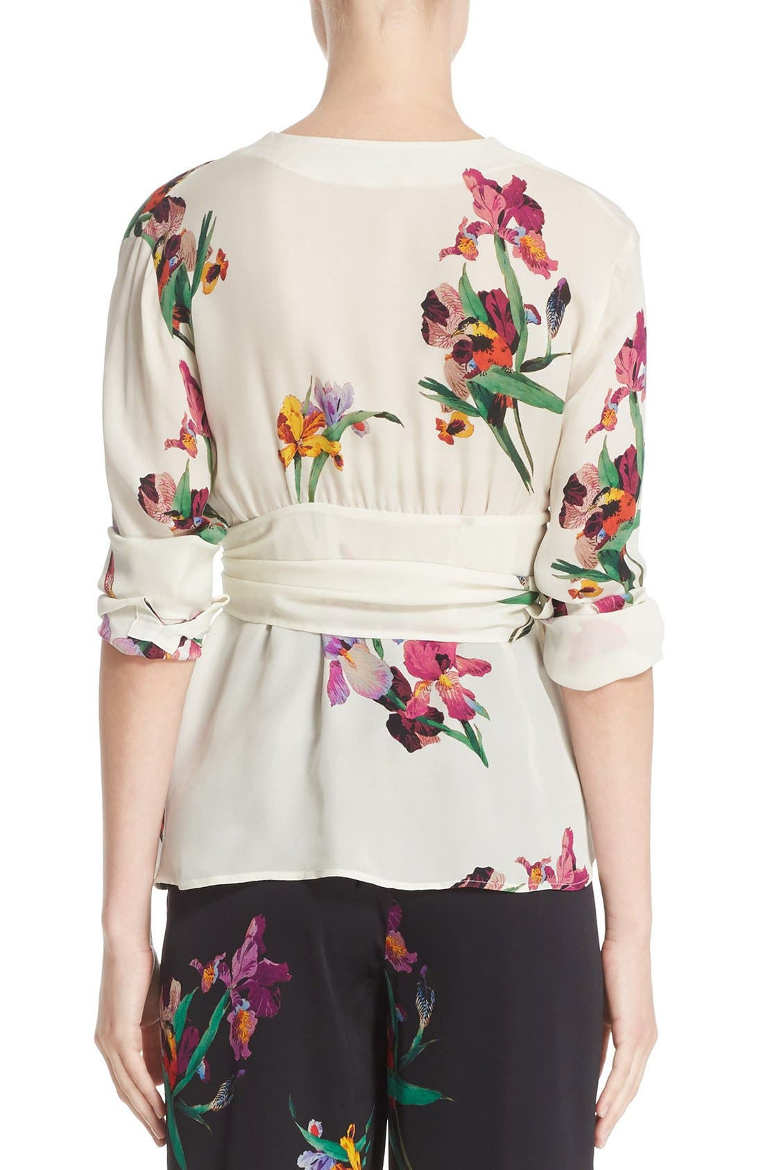 Alternate Image 2  - Etro Floral & Bird Print Silk Wrap Blouse