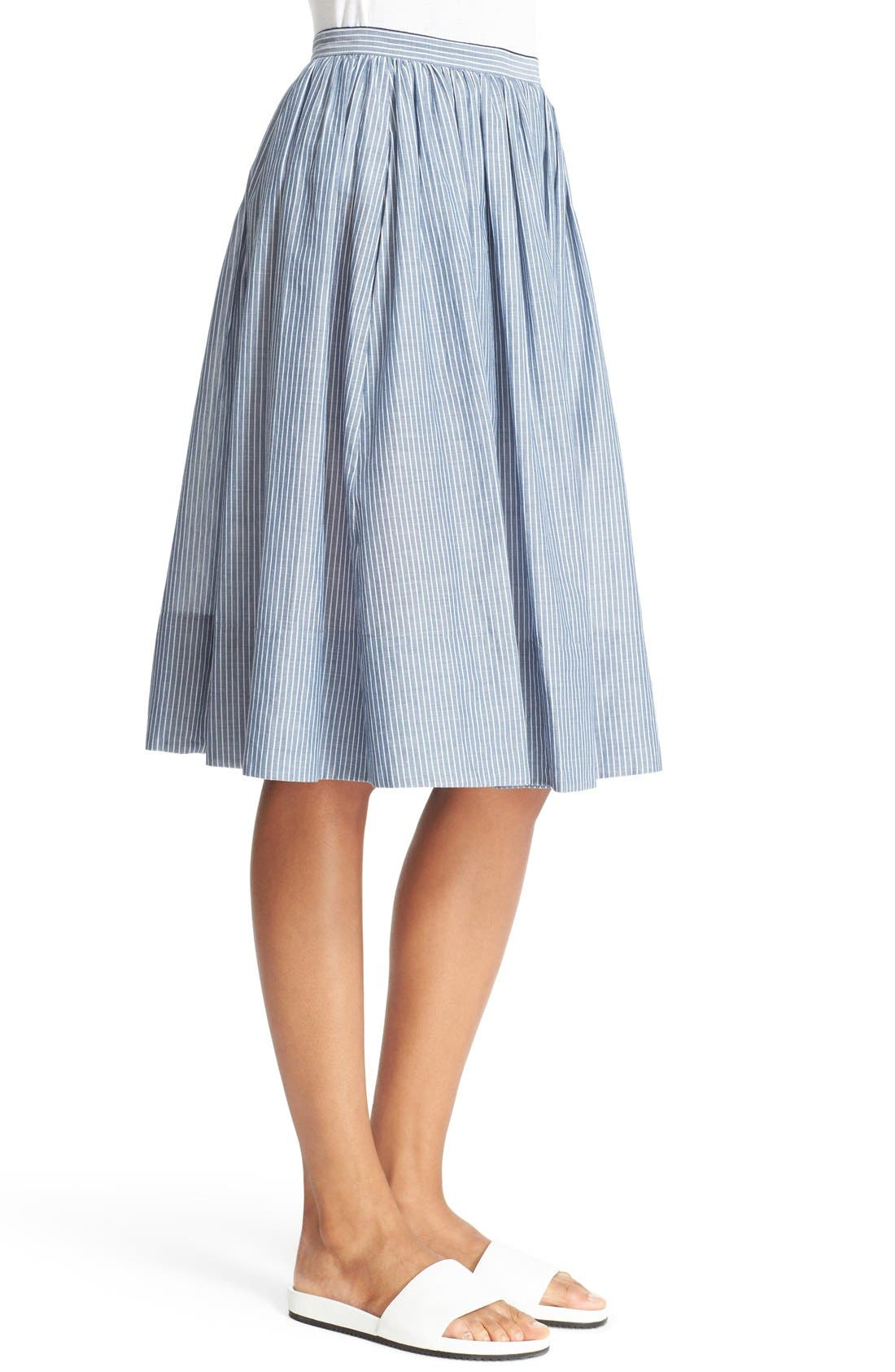 Alternate Image 4  - Vince Shirred Stripe Full Cotton Skirt