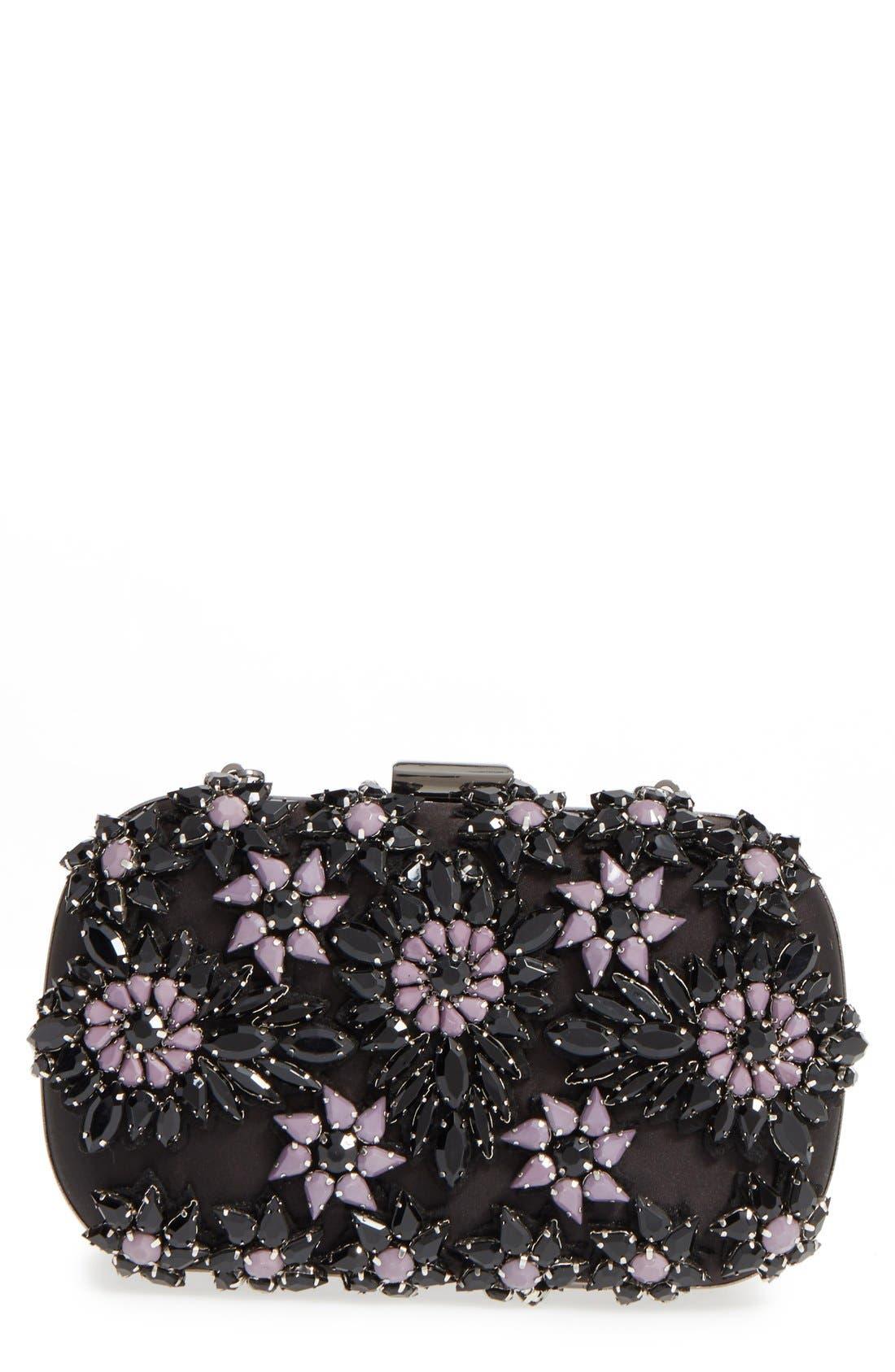Main Image - Natasha Couture Crystal Floral Box Clutch