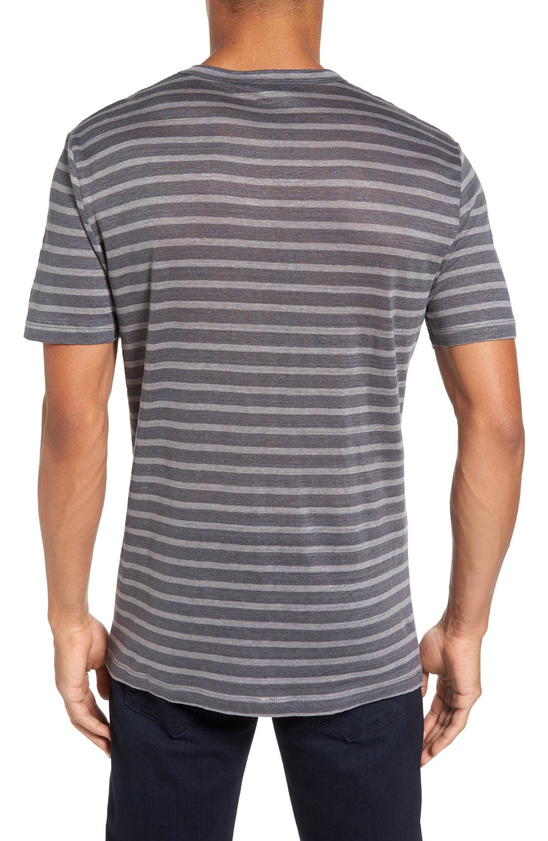 Alternate Image 2  - Slate & Stone Stripe Linen T-Shirt