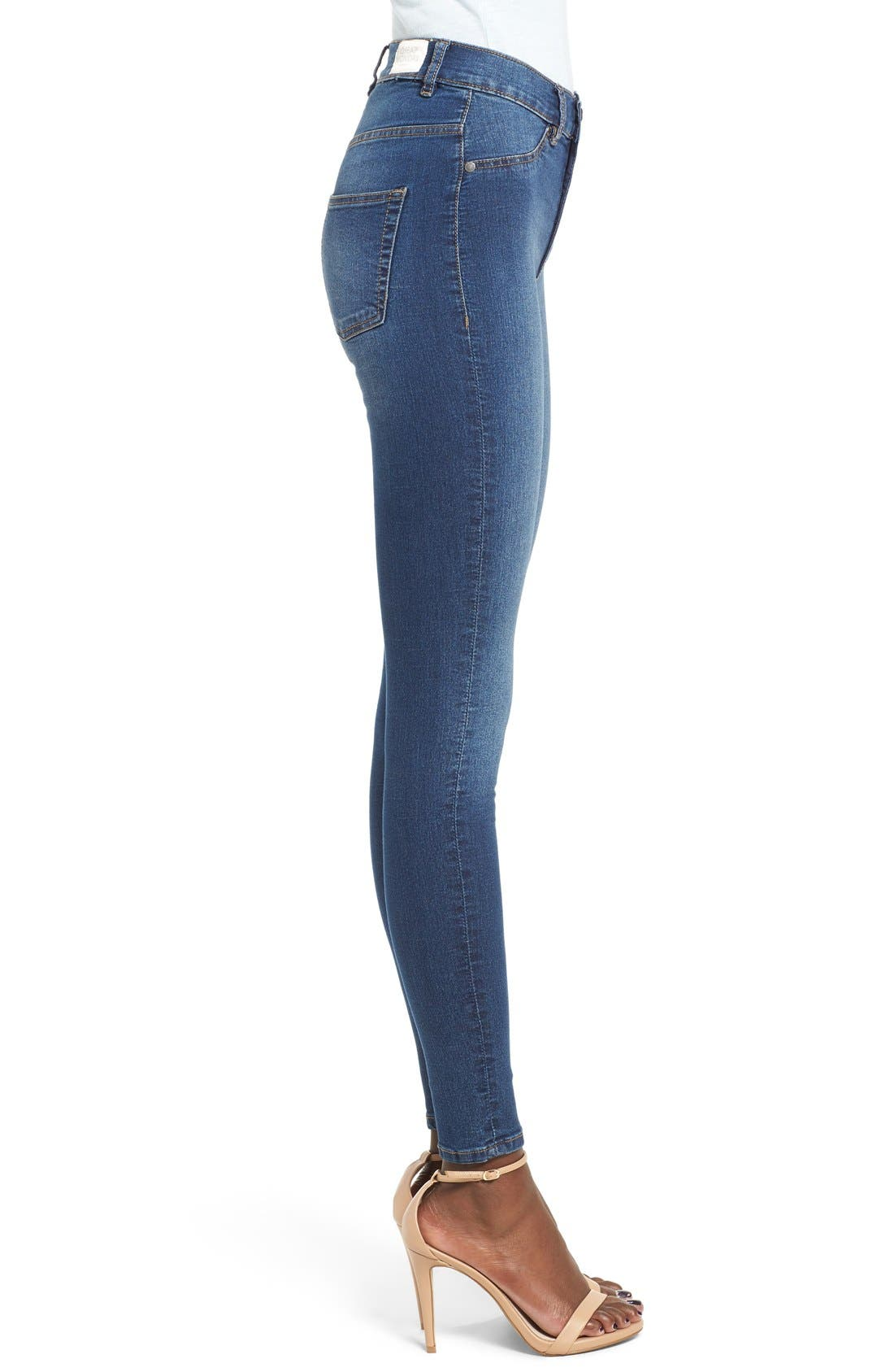 Alternate Image 3  - Cheap Monday High Rise Skinny Jeans (Dim Blue)
