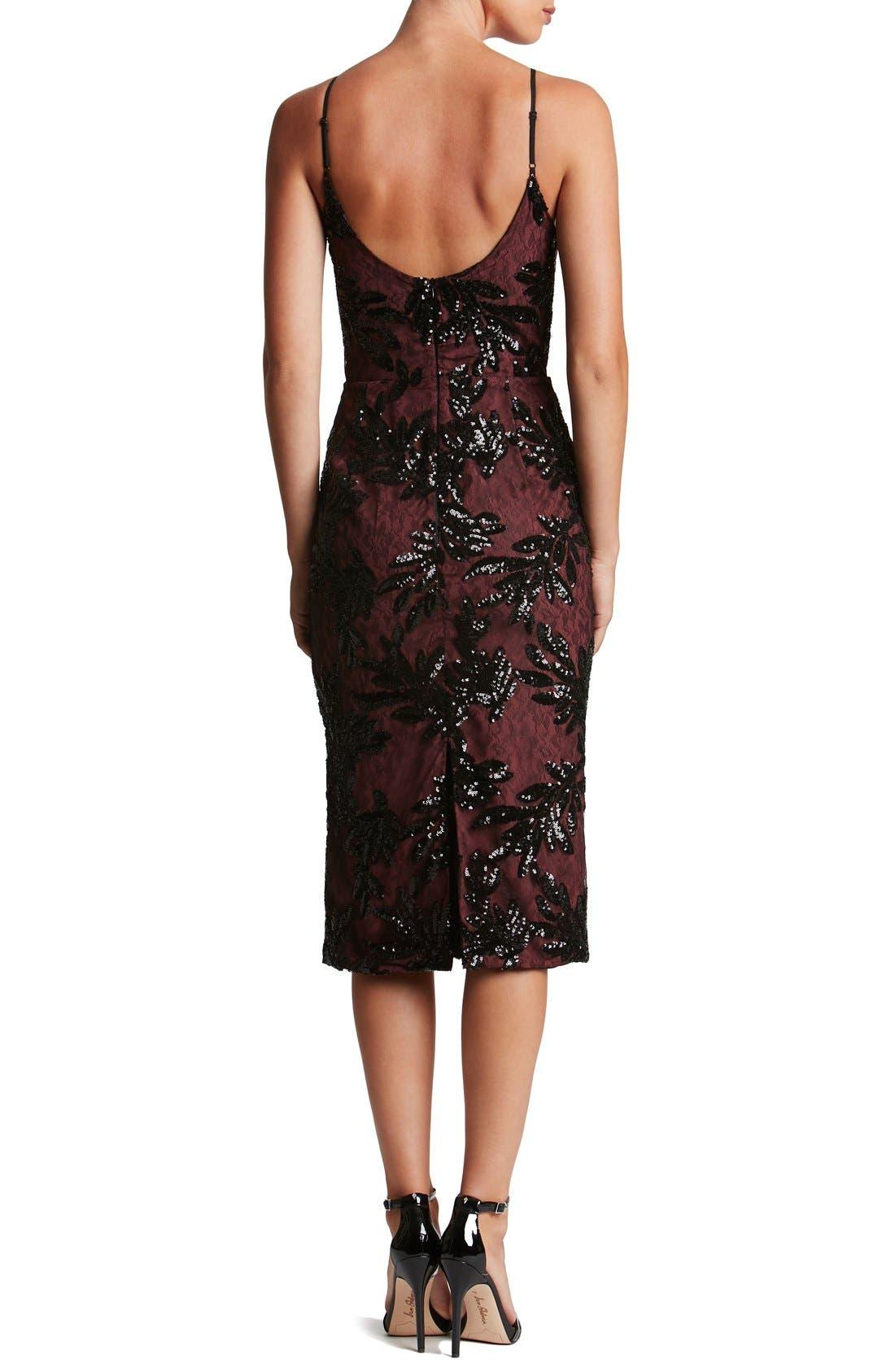 Alternate Image 2  - Dress the Population Ashley Sequin Lace Sheath Dress