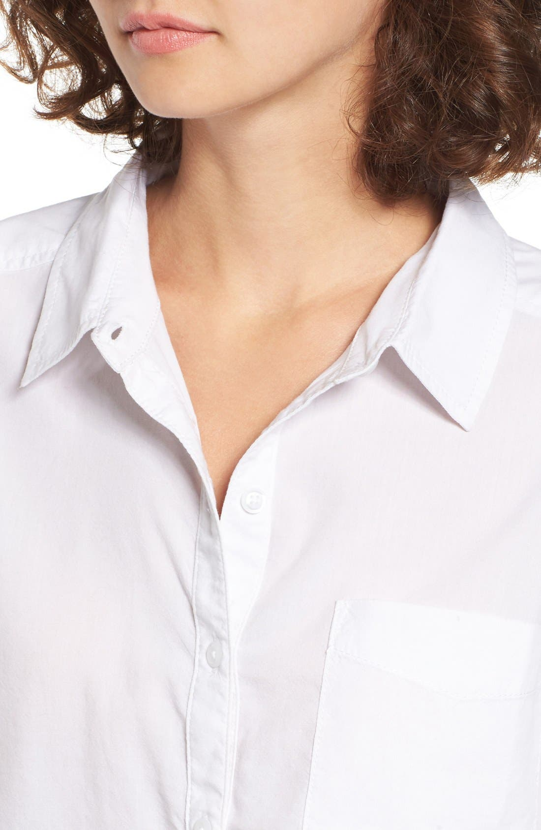 Cotton Blend Button Down Shirt,                             Alternate thumbnail 5, color,                             White