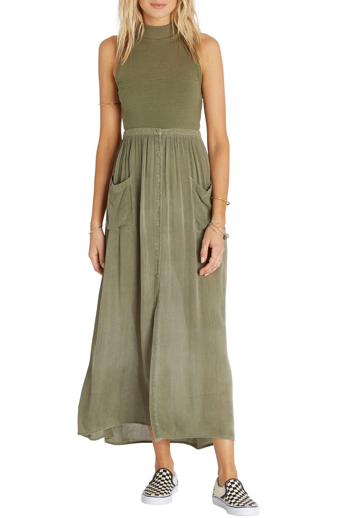 Honey High Waist Maxi Skirt,                         Main,                         color, Seagrass Olive