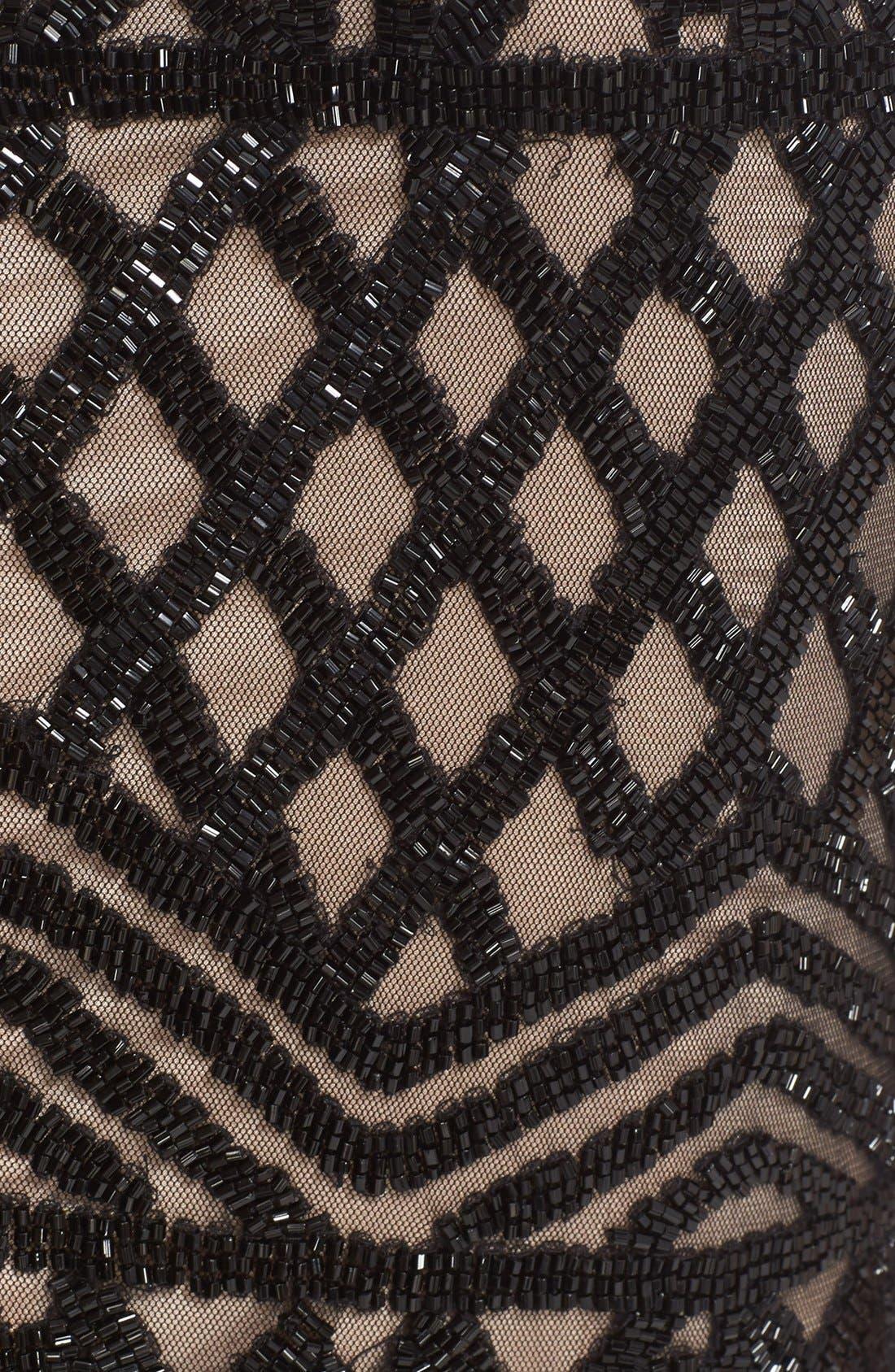 Beaded High Neck Mermaid Gown,                             Alternate thumbnail 3, color,                             Black