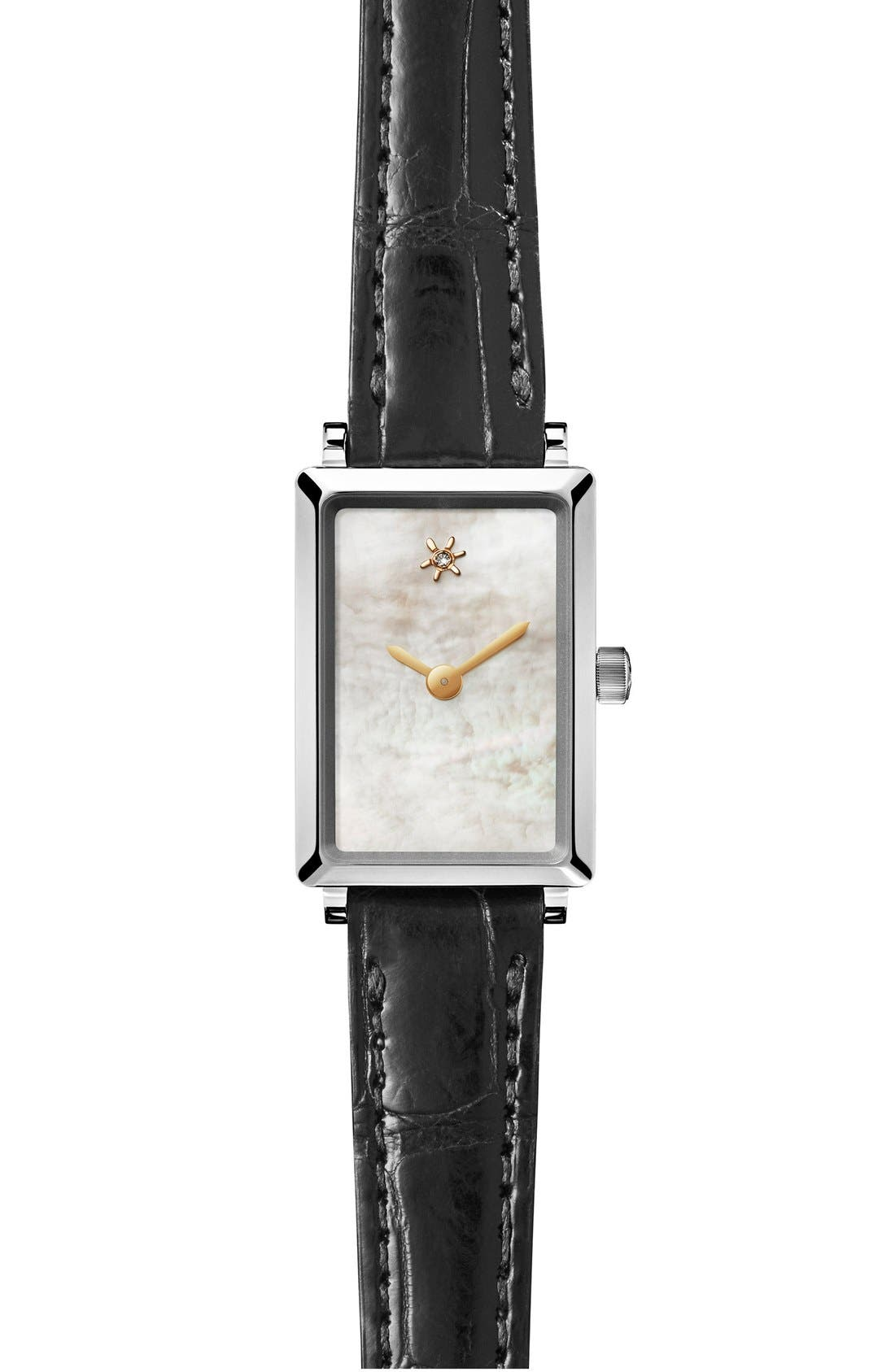 The Shirley Fromer Alligator Strap Watch, 18mm x 26mm,                         Main,                         color, Black/ White Mother Of Pearl