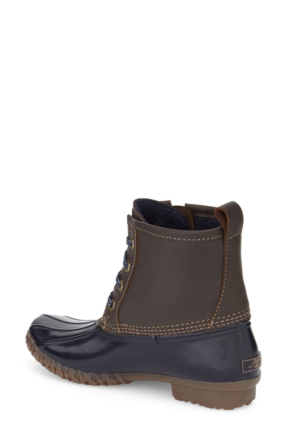 Danielle Waterproof Duck Boot,                             Alternate thumbnail 2, color,                             Chocolate/ Navy Leather