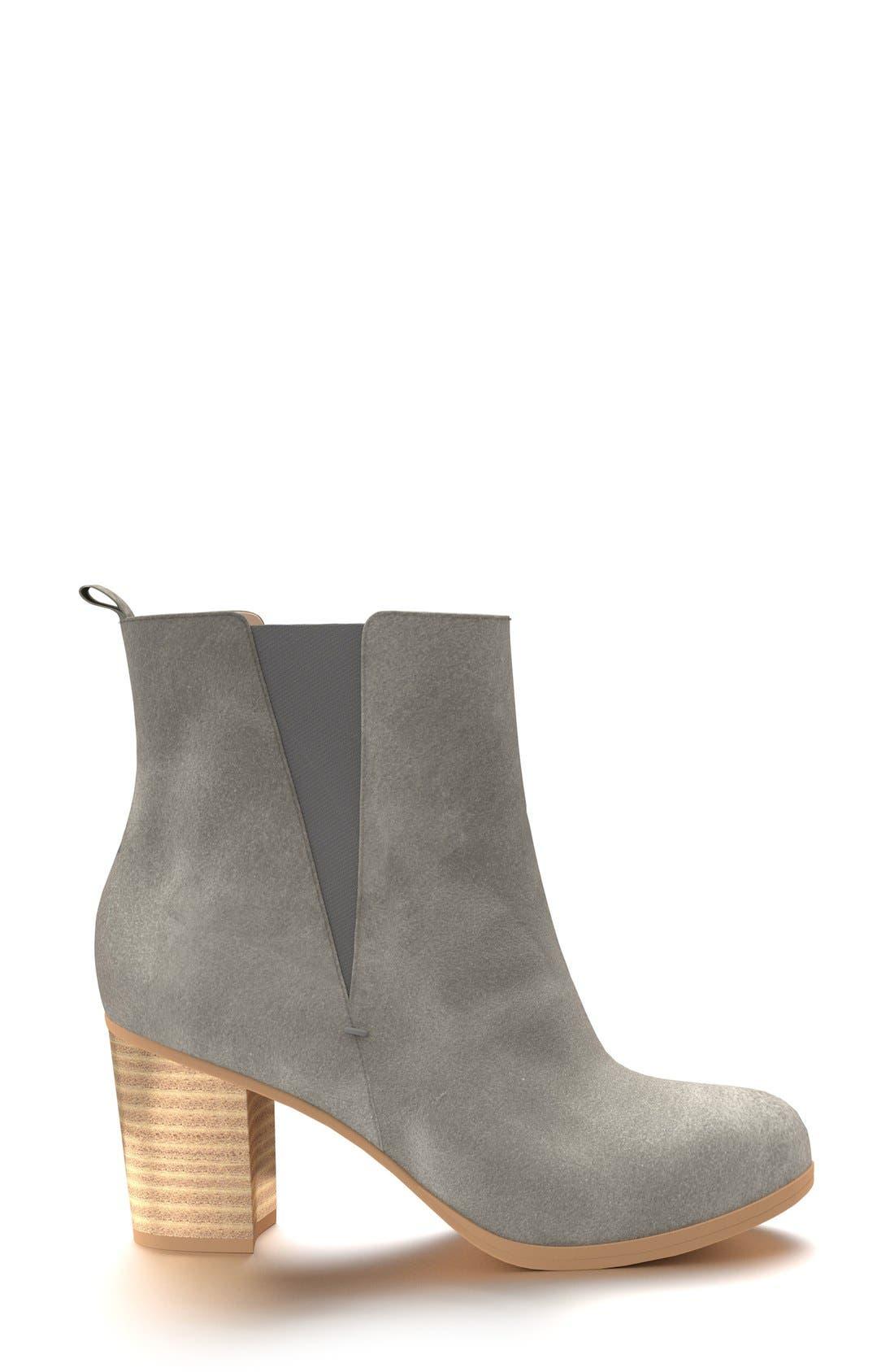 Block Heel Chelsea Boot,                             Alternate thumbnail 2, color,                             Dark Gray Leather