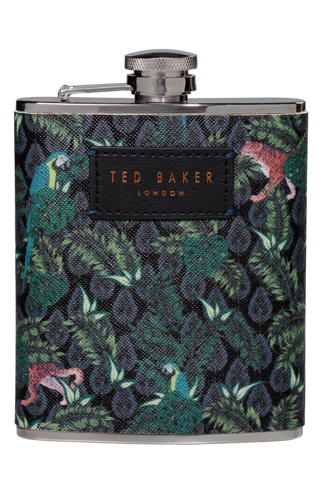x Ted Baker London Jungle Print Hip Flask,                             Main thumbnail 1, color,                             Green