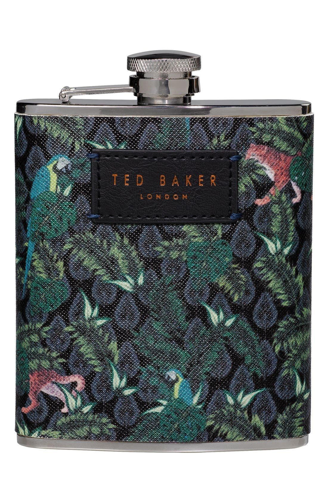 x Ted Baker London Jungle Print Hip Flask,                         Main,                         color, Green