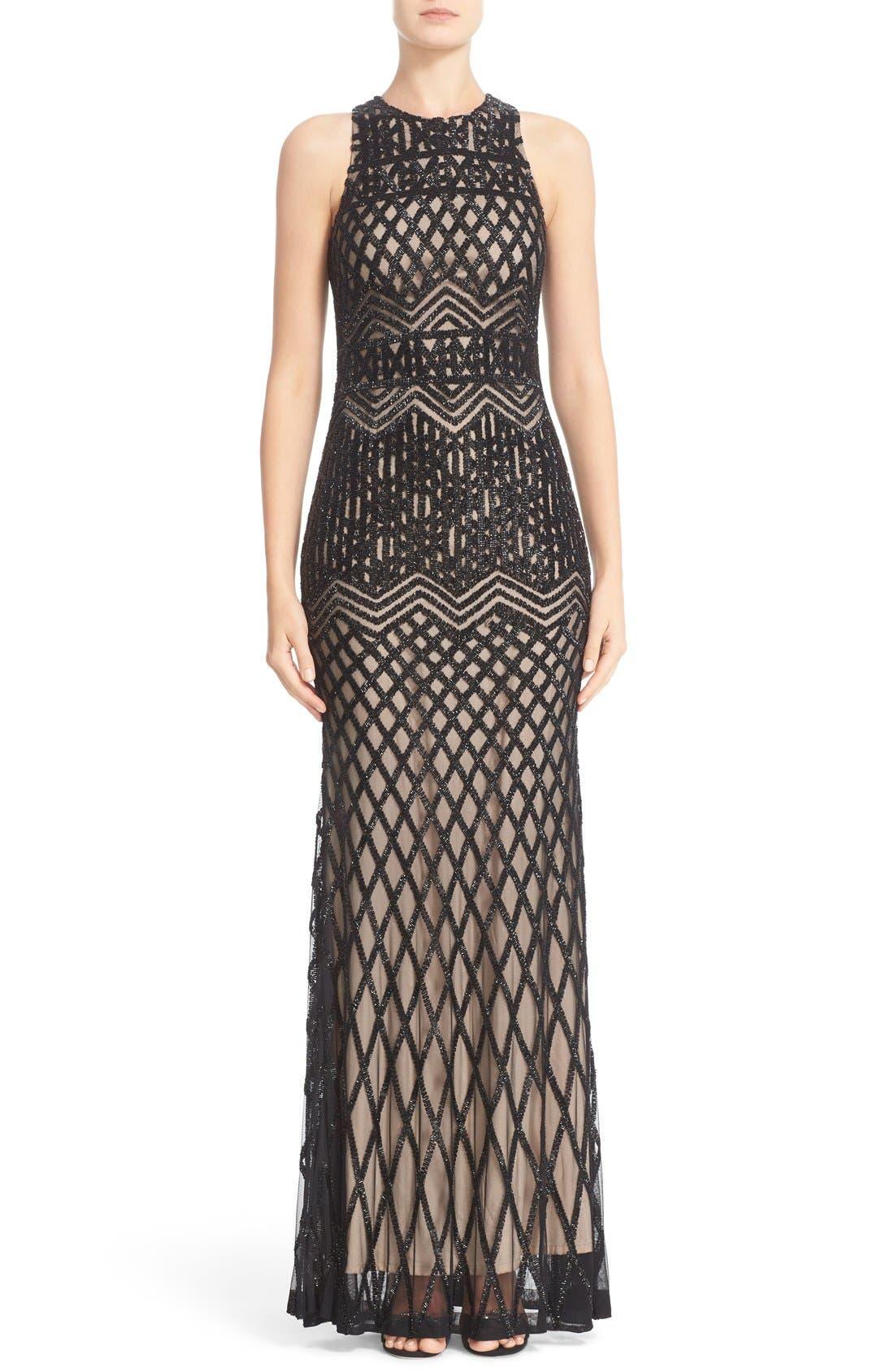 Beaded High Neck Mermaid Gown,                             Main thumbnail 1, color,                             Black