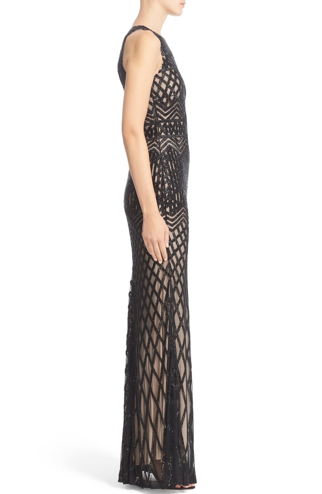 Beaded High Neck Mermaid Gown,                             Alternate thumbnail 4, color,                             Black