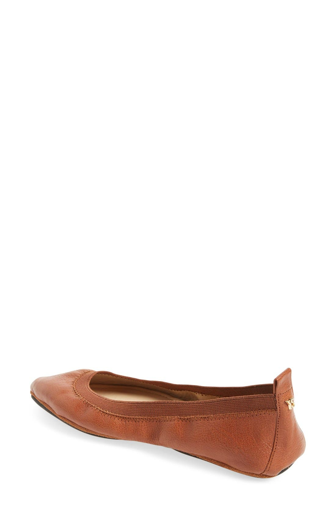 Vienna Foldable Pointy Toe Flat,                             Alternate thumbnail 2, color,                             Dark Whiskey Leather