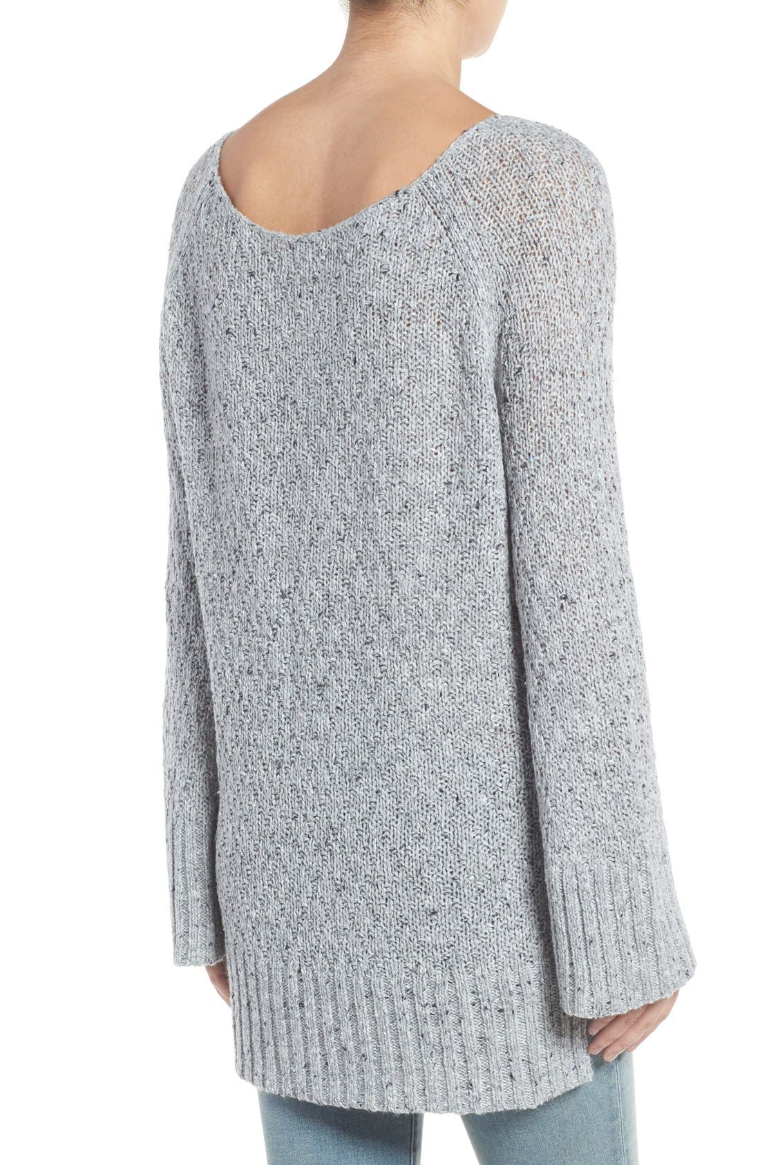 Slouchy Tunic Sweater,                             Alternate thumbnail 2, color,                             Grey Heather