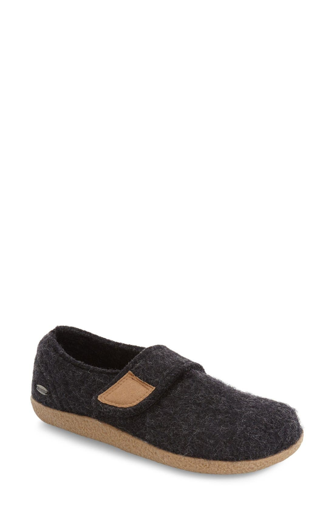 Camden Water Repellent Slipper,                             Main thumbnail 1, color,                             Charcoal Wool