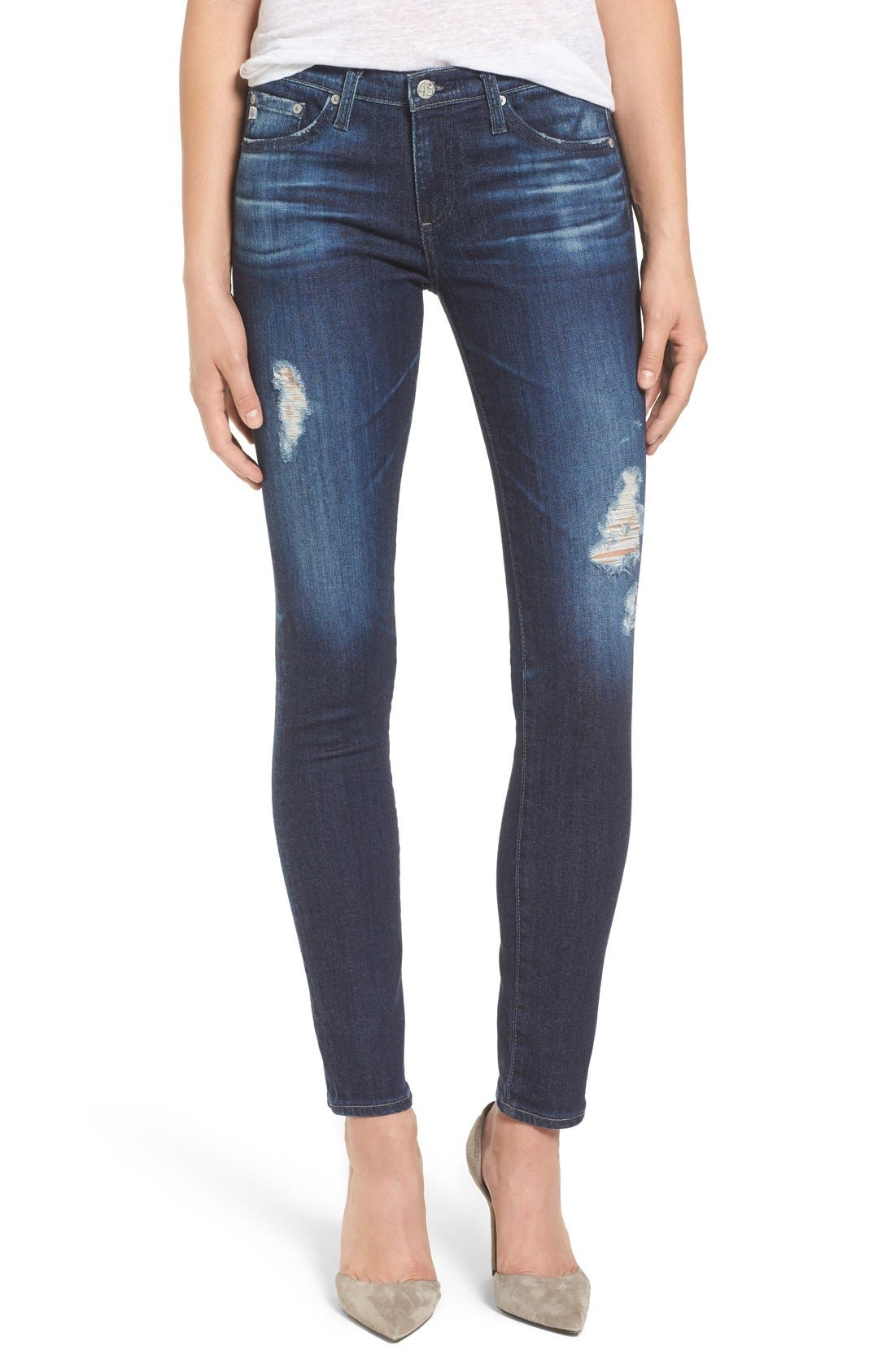 Alternate Image 1 Selected - AG 'The Stilt' Cigarette Leg Jeans (7 Year Ripped)