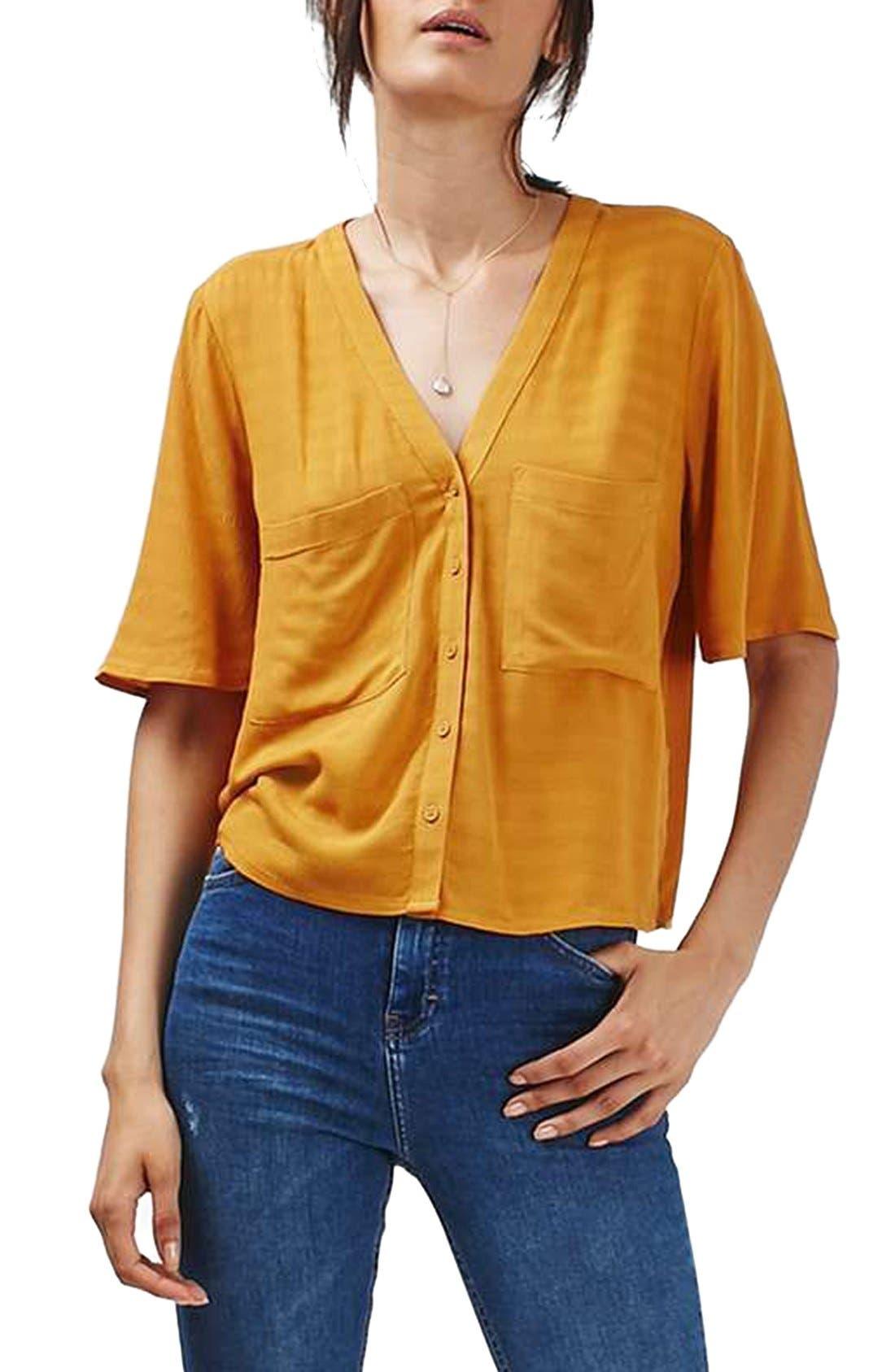 Alternate Image 1 Selected - Topshop 'Holly' Short Sleeve V-Neck Shirt