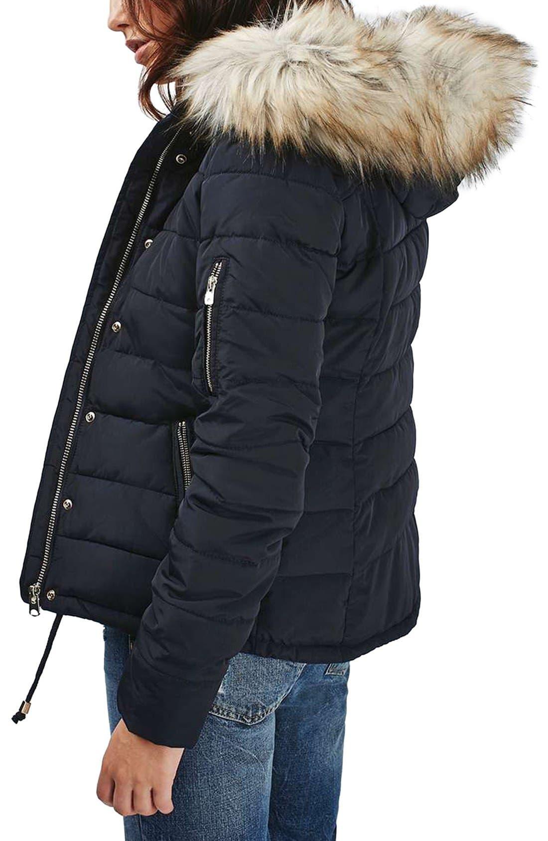 Topshop Woody Faux Fur Hood Puffer Jacket | Nordstrom