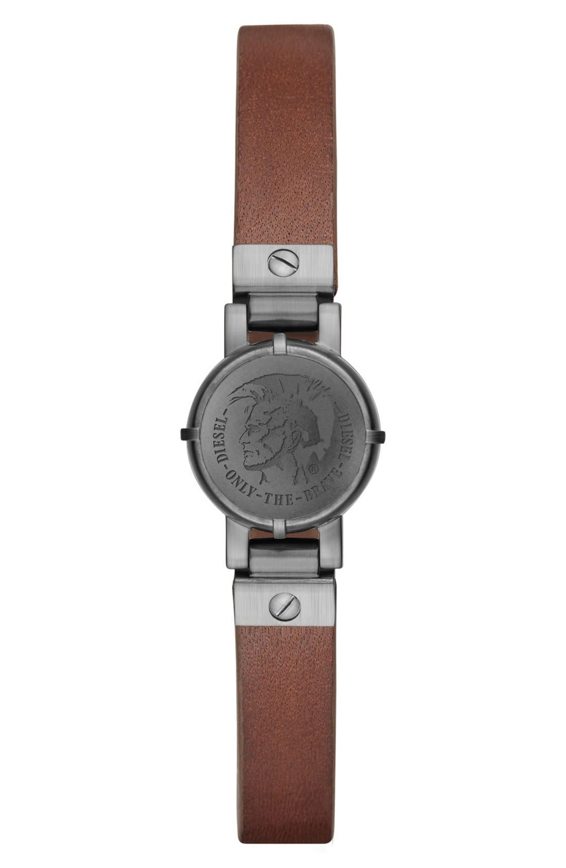 Leather Strap Activity Tracker,                             Main thumbnail 1, color,                             Black/ Brown