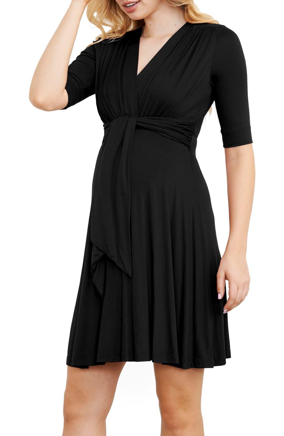 Maternity Tie Front Dress,                         Main,                         color, Black