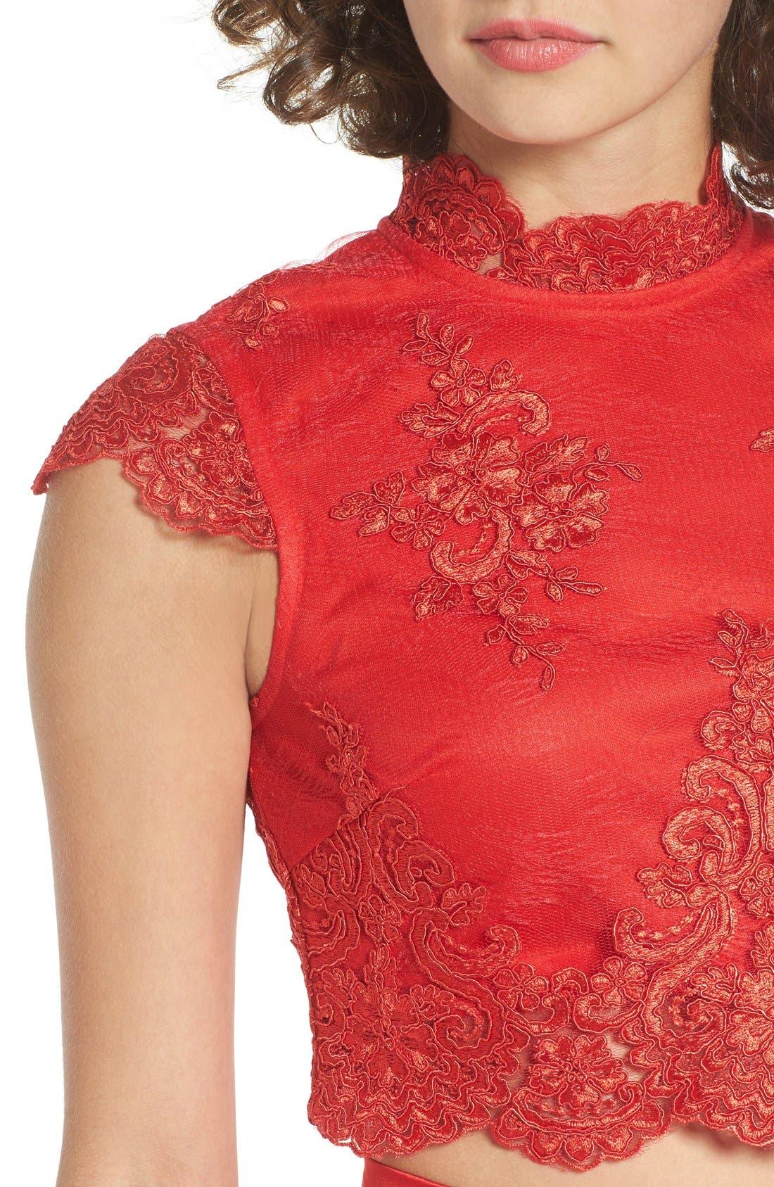 Alternate Image 4  - a. drea Lace Cap Sleeve Two-Piece Skater Dress