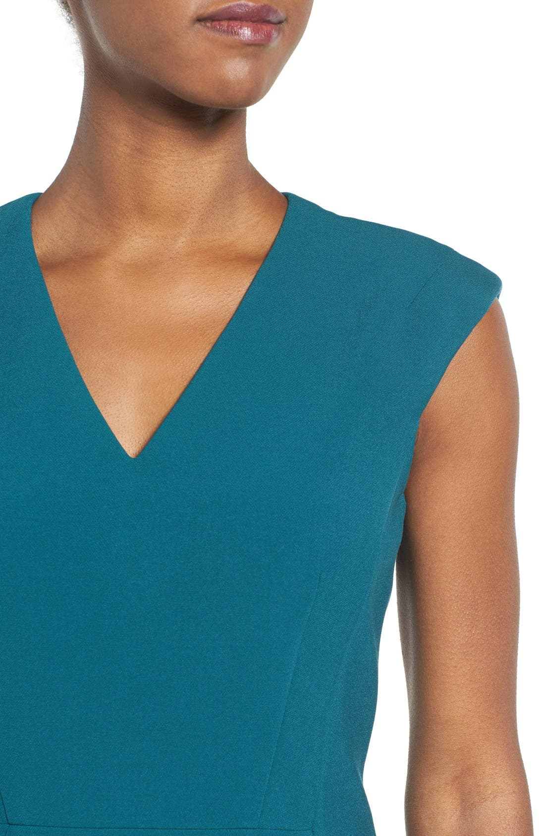 Alternate Image 4  - BOSS Dalana V-Neck Ponte Sheath Dress