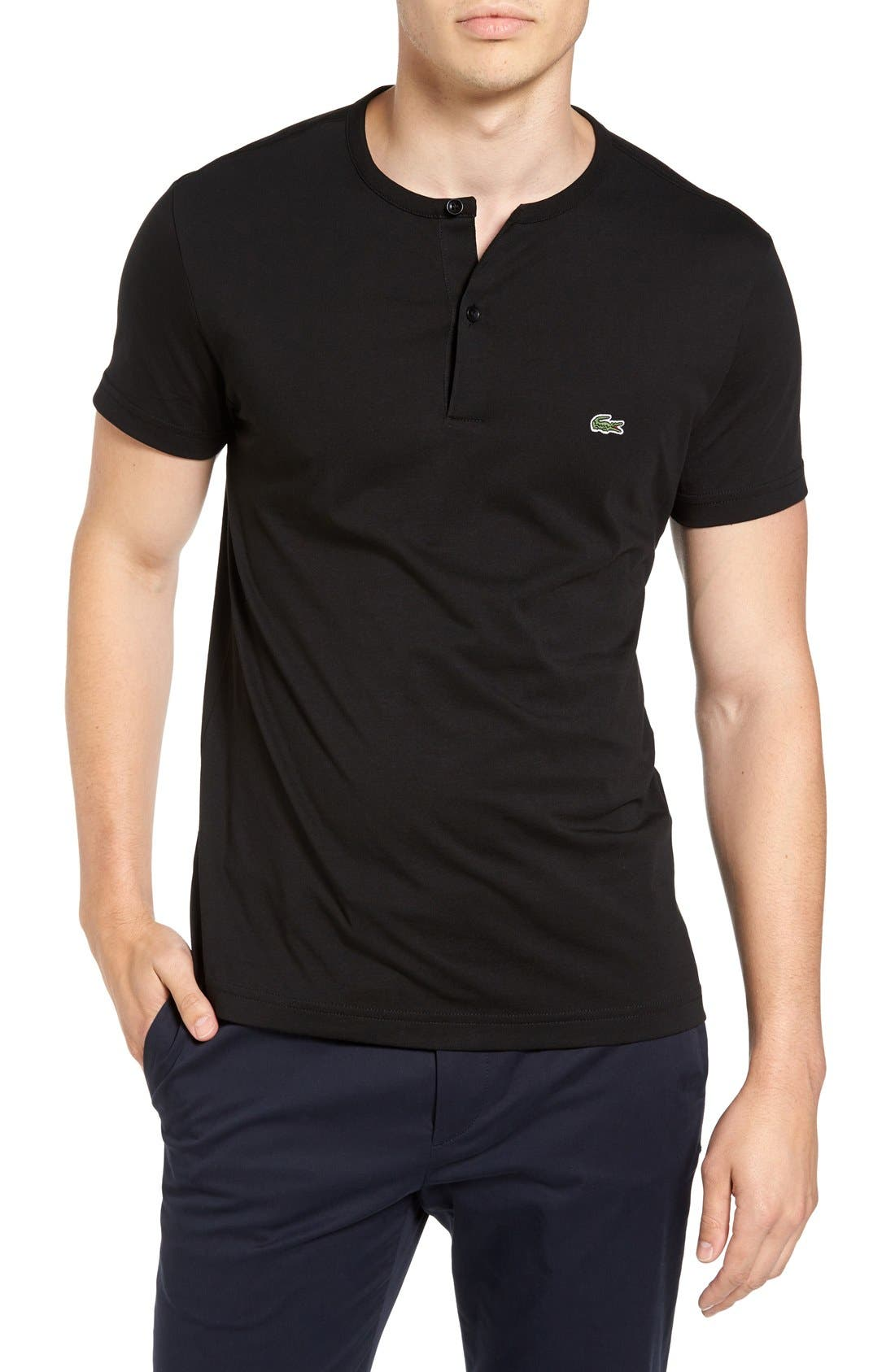 Henley T-Shirt,                         Main,                         color, Black