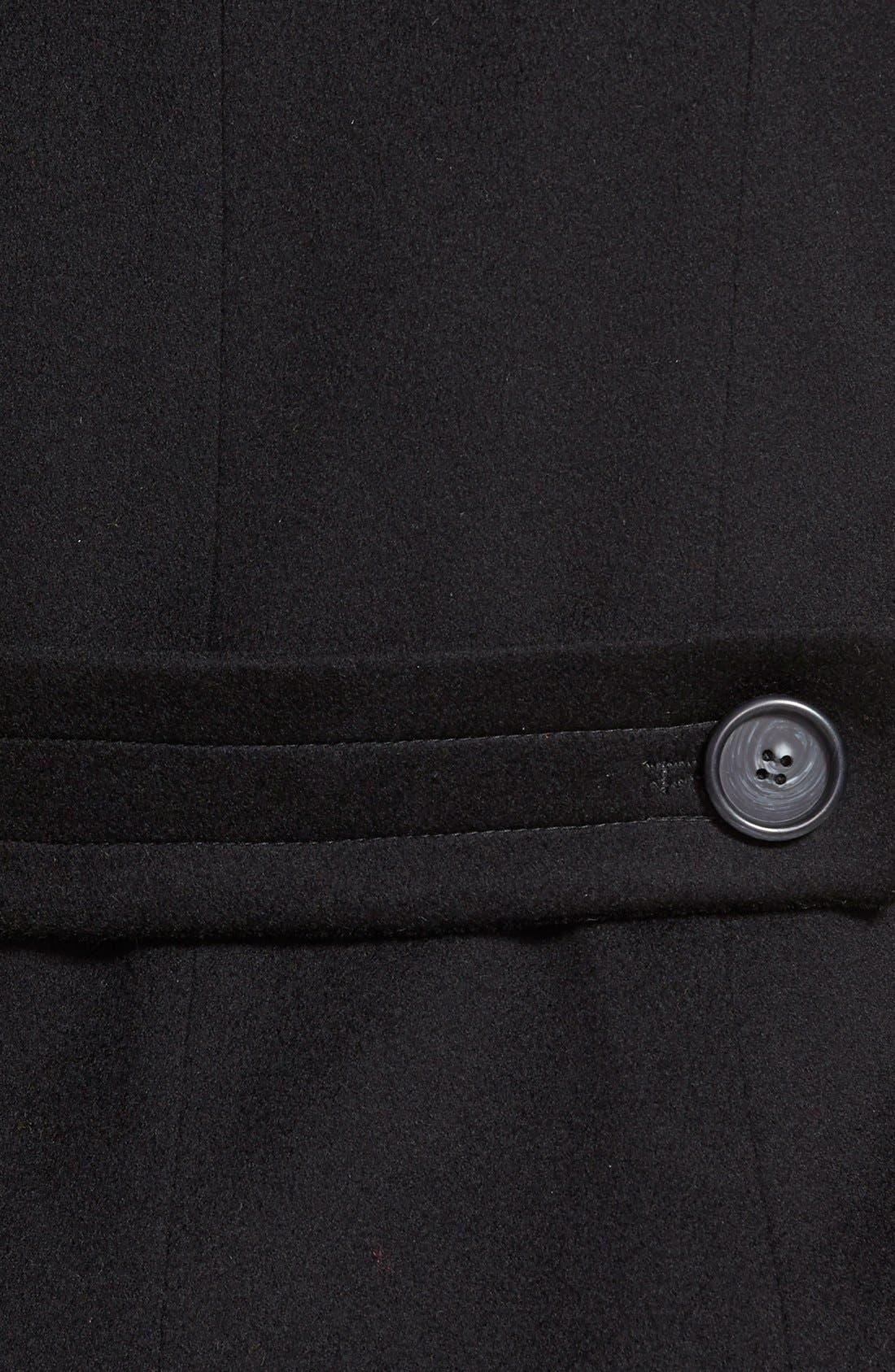 Loro Piana Wool Peacoat,                             Alternate thumbnail 3, color,                             Black