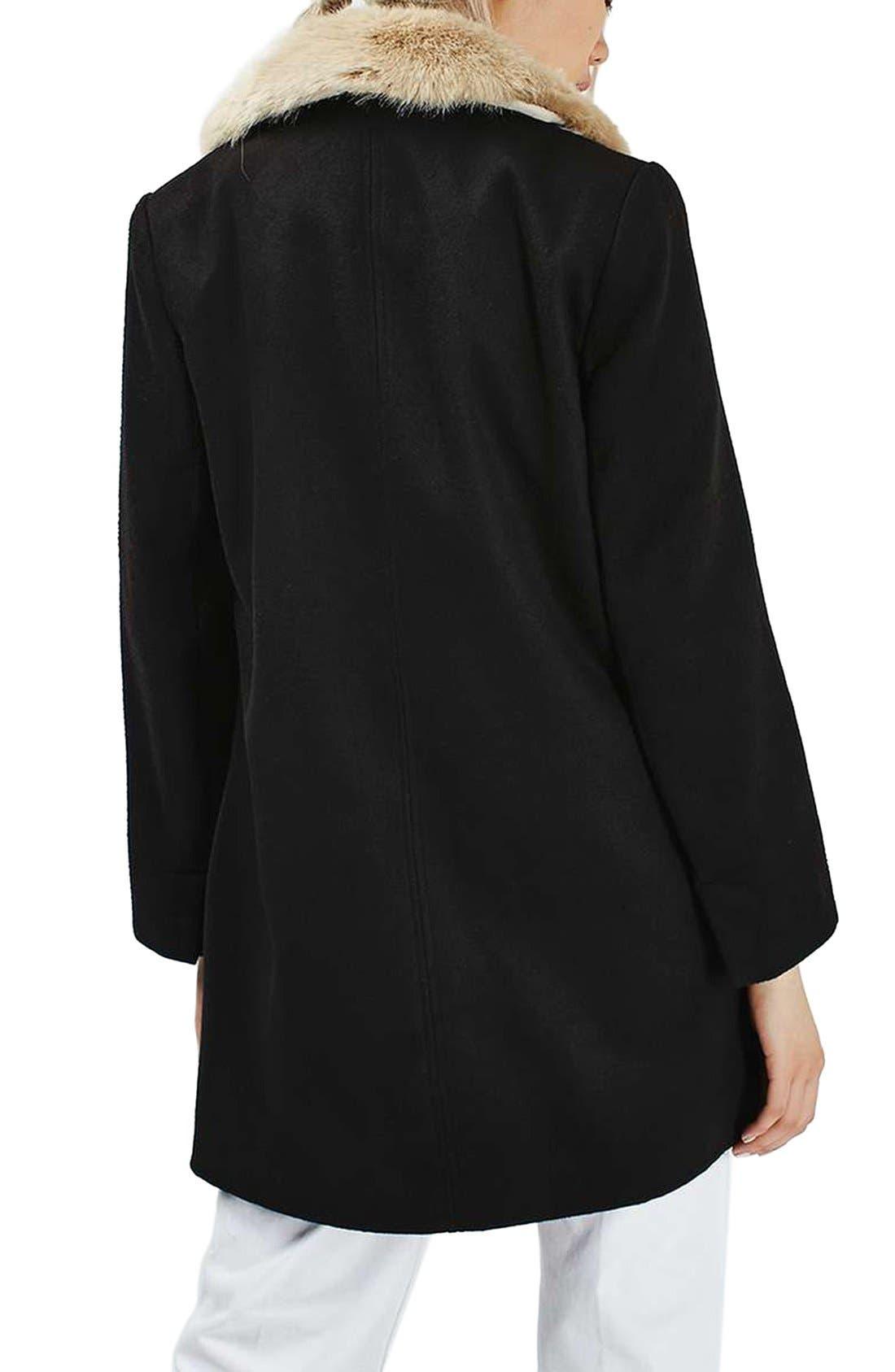 Alternate Image 3  - Topshop Faux Fur Collar Coat