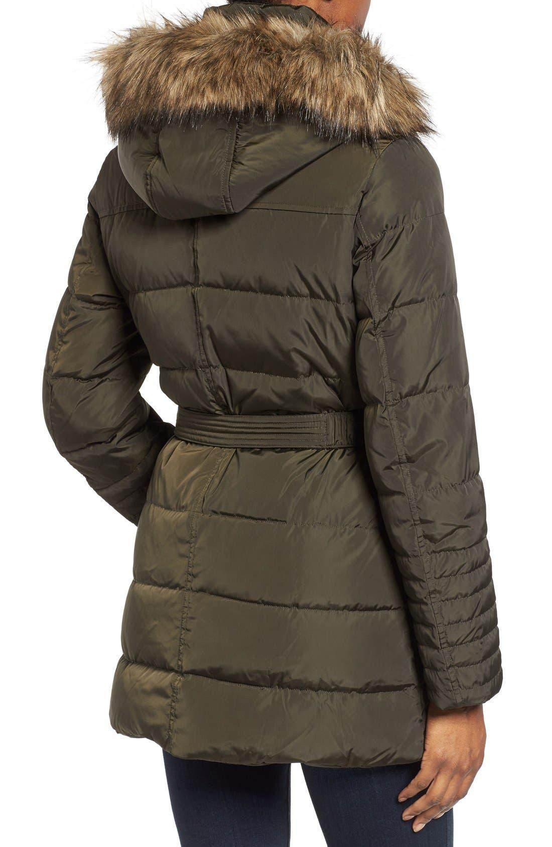 Alternate Image 2  - MICHAEL Michael Kors Faux Fur Trim Belted Down & Feather Fill Coat