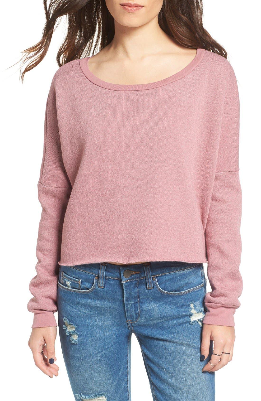 Project Social T Raw Edge Crop Sweatshirt,                         Main,                         color, Mauve Shadows