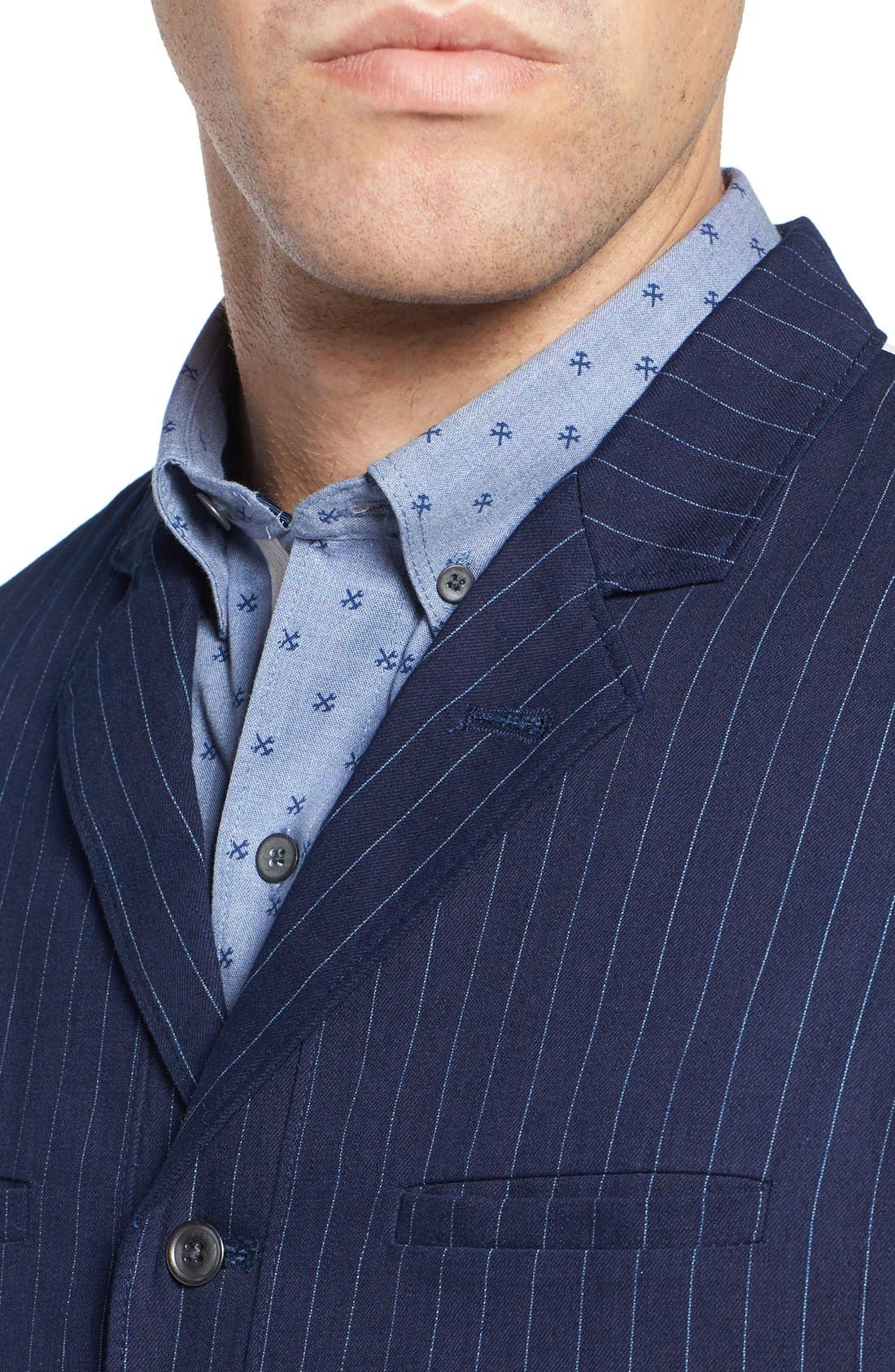 Windsor Pinstripe Cotton Twill Vest,                             Alternate thumbnail 4, color,                             Navy