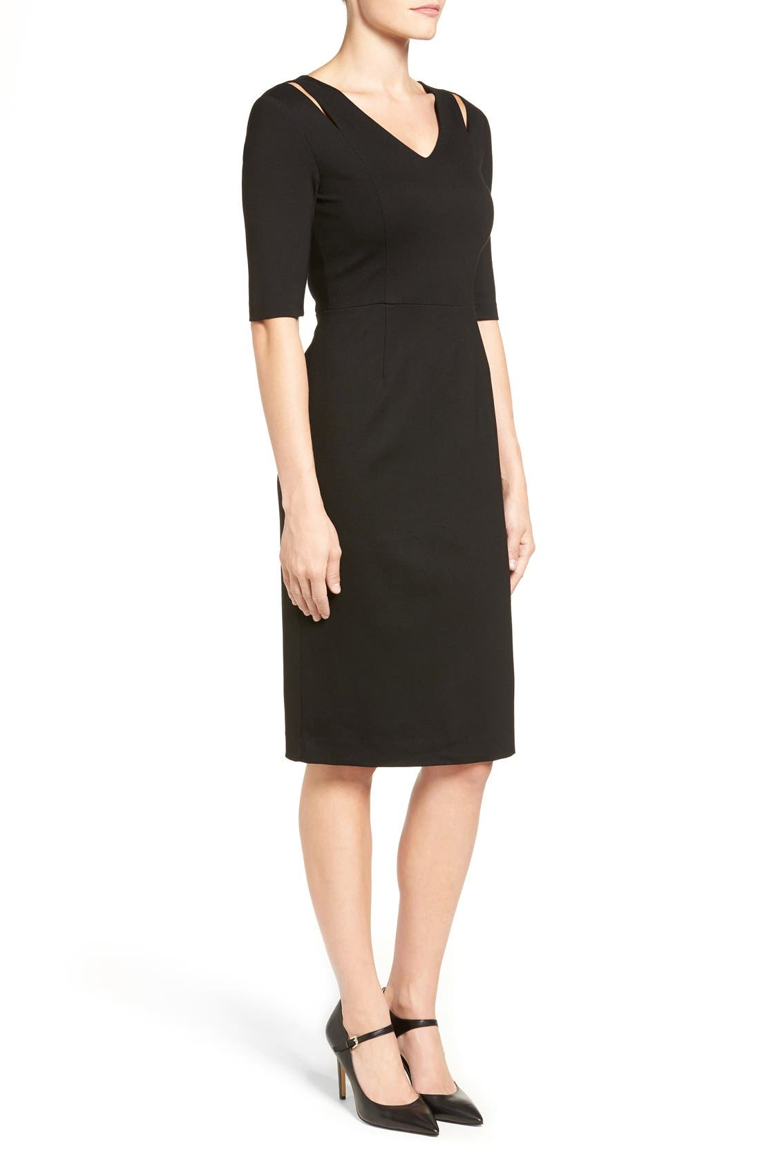 Alternate Image 3  - Halogen® Cutout Shoulder Sheath Dress (Regular & Petite)